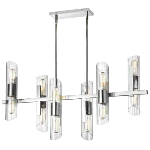 12 Light Horizontal Polished Chrome Chandelier w/ Clear Fluted Glass