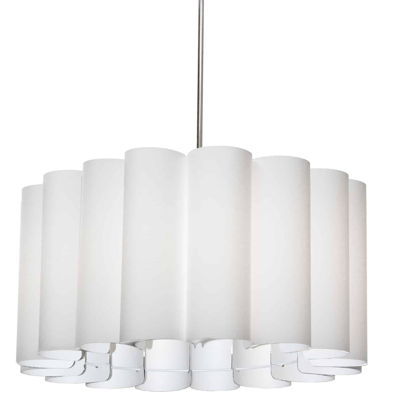 4 Light Sandra Pendant, JTone White, Polished Chrome