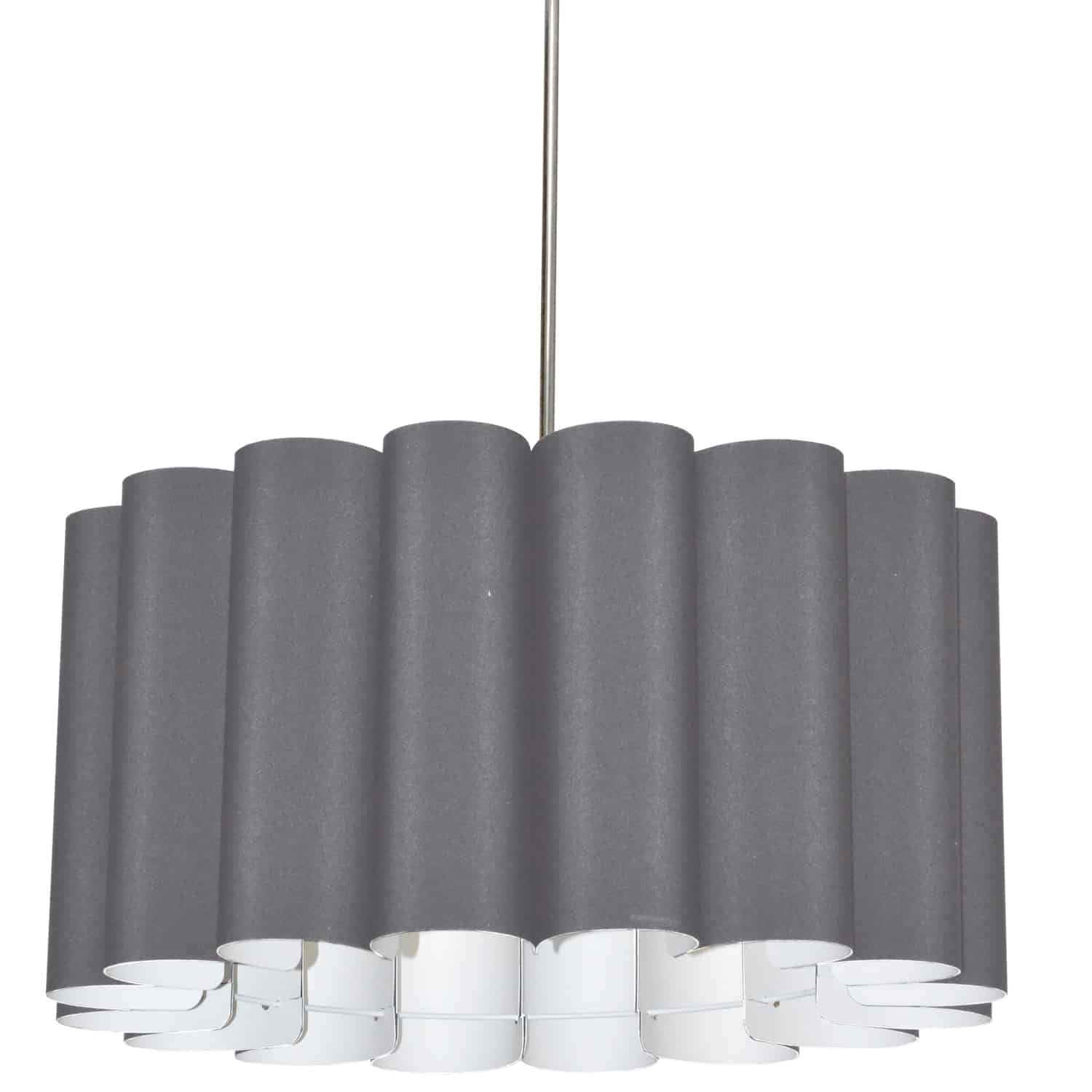 4 Light Sandra Pendant SGlow Grey Polished Chrome