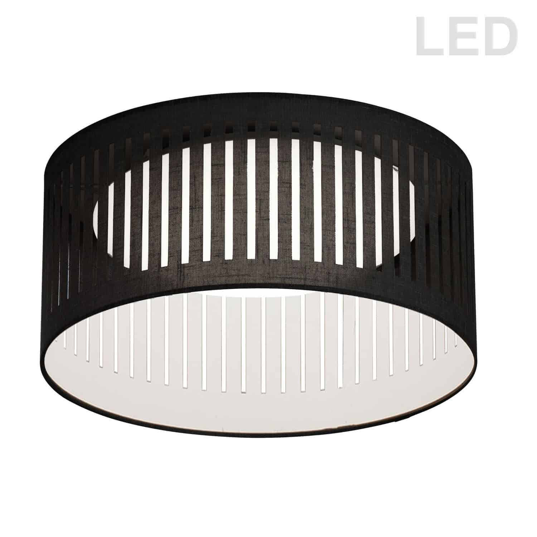 LED Flush Mount, Slit Drum Shade, Black