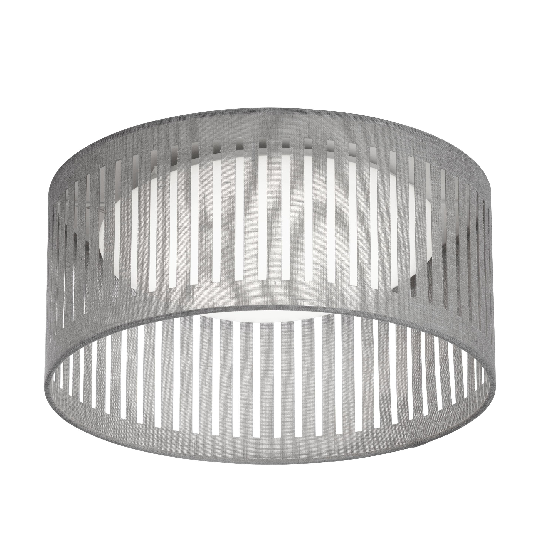 LED Flush Mount, Slit Drum Shade, Grey