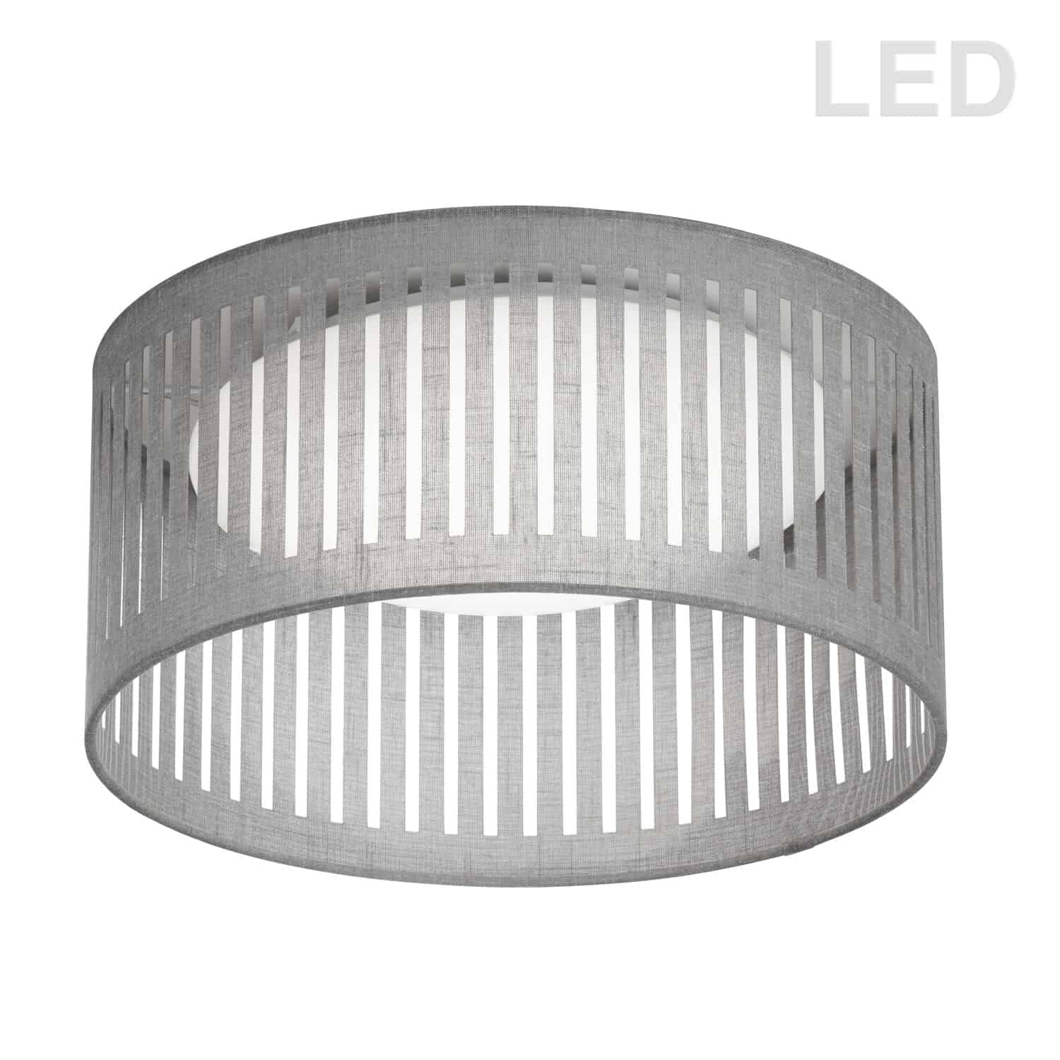 LED Flush Mount, Slit Drum Shade, Grey