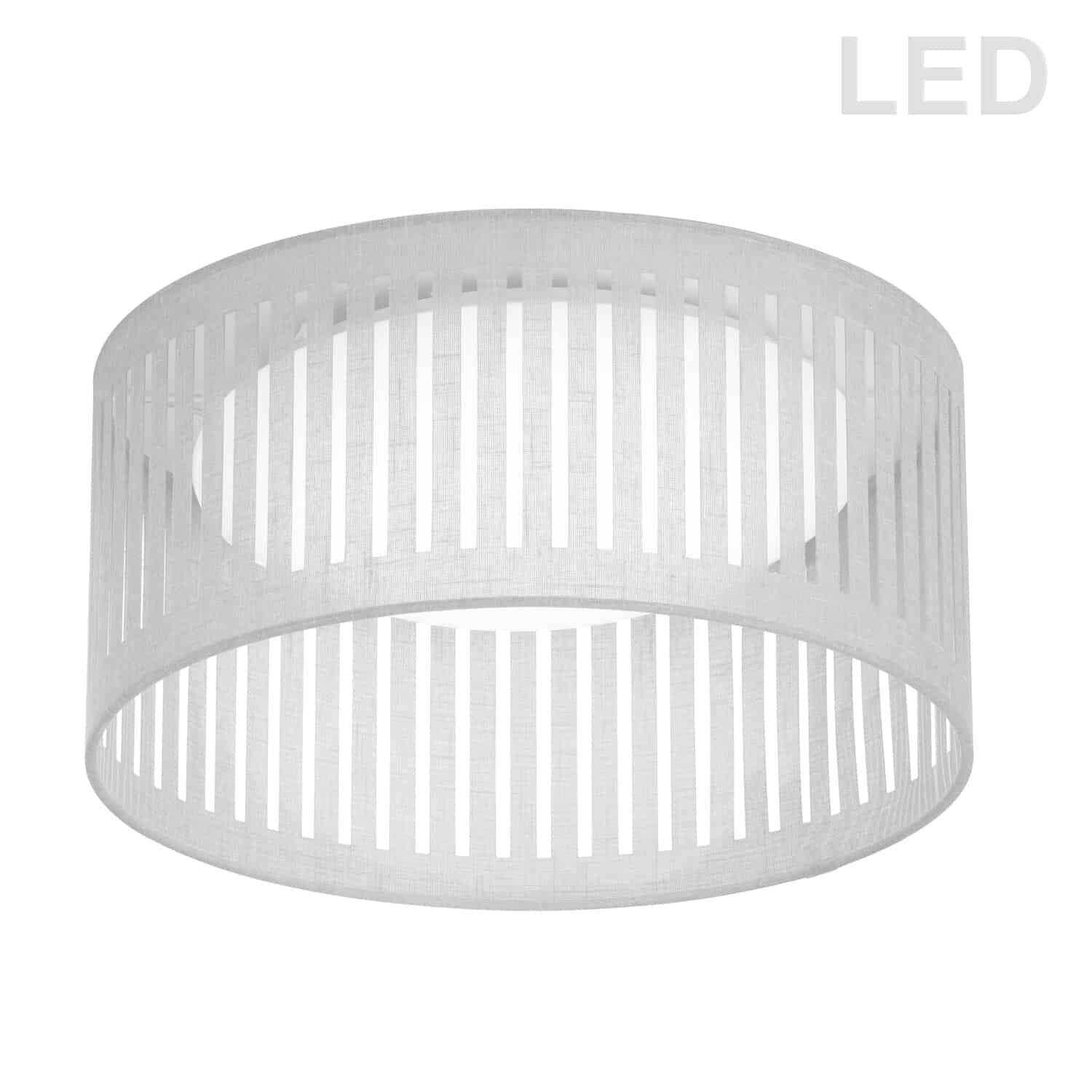 LED Flush Mount, Slit Drum Shade, White