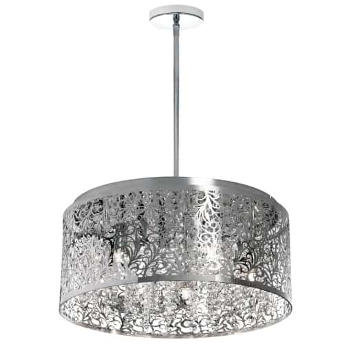 8 Light Crystal Chandelier With Floral Pattern, Polished Chrome Finish