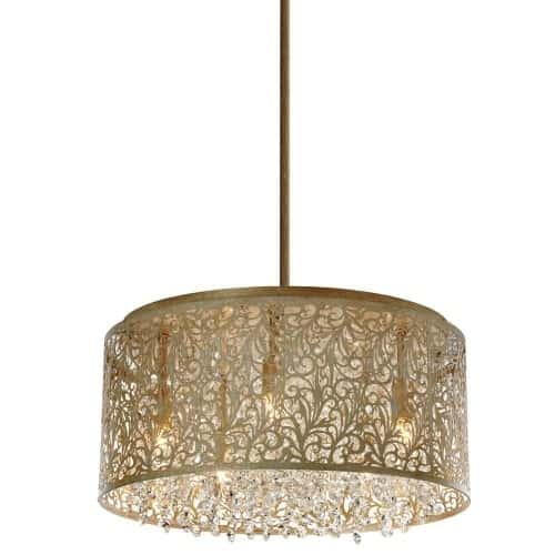 8 Light Crystal Chandelier With Floral Pattern, Palladium Gold Finish