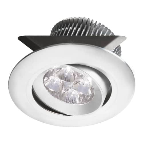 """White 2x4W 3000K, CRI80+, 25° beam, 24VDC input with Male Connector, 18"""" Lead wire, D84xH50 mm, Dimmable.±25° Adjustable tilt angle."""