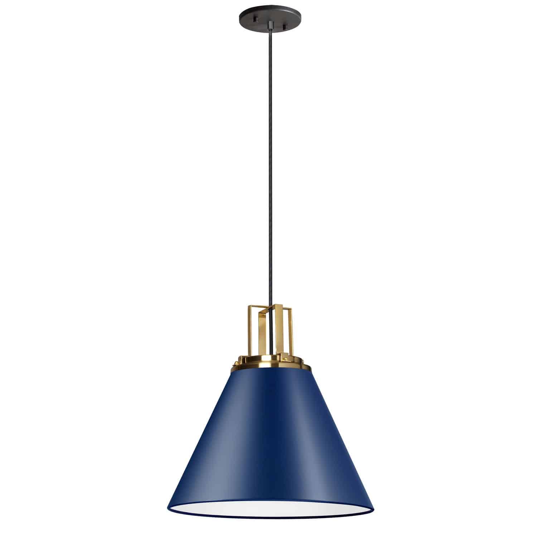 1 Light Incandescent Pendant, Cobalt Blue w/ Aged Brass Accent