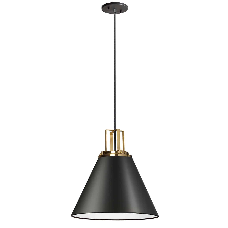 1 Light Incandescent Pendant, Matte Black w/ Aged Brass Accent
