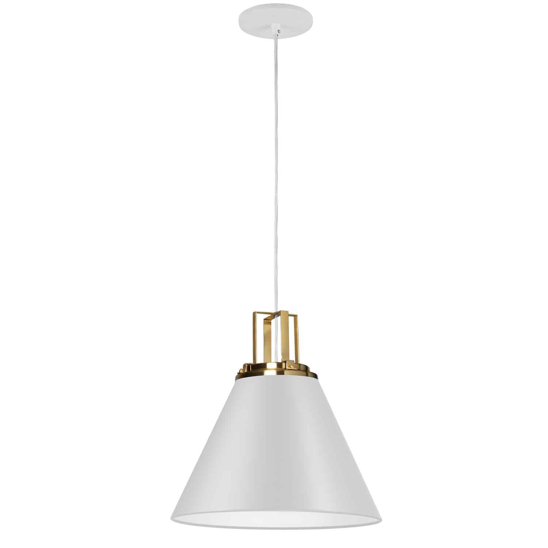 1 Light Incandescent Pendant, Matte White w/ Aged Brass Accent