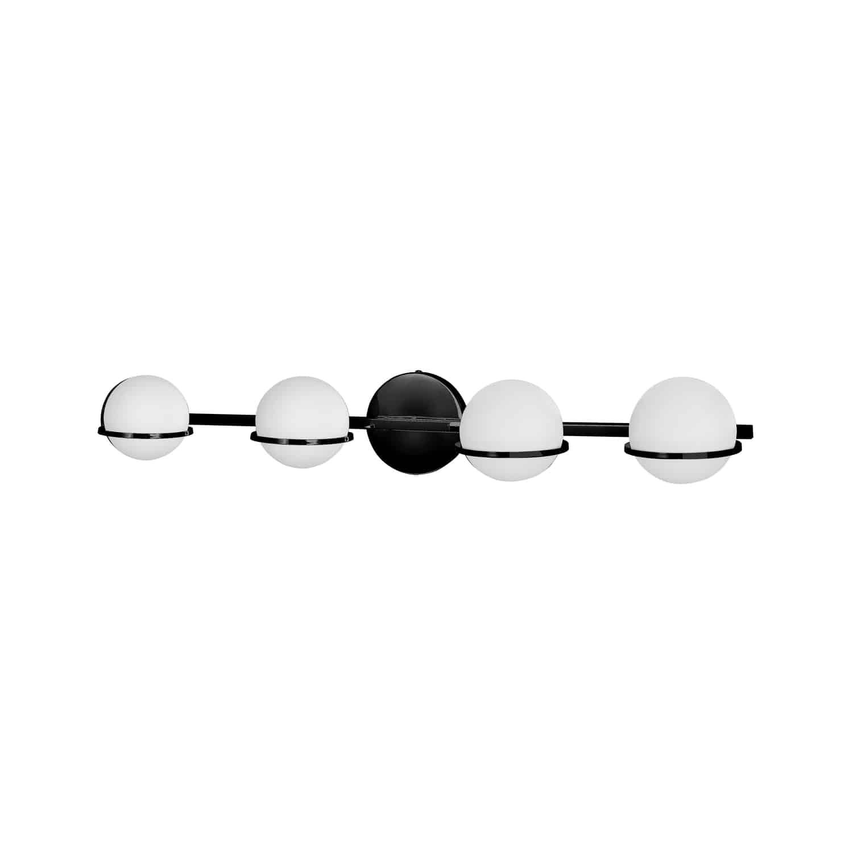 4 Light Halogen Vanity Matte Black Finish with White Glass
