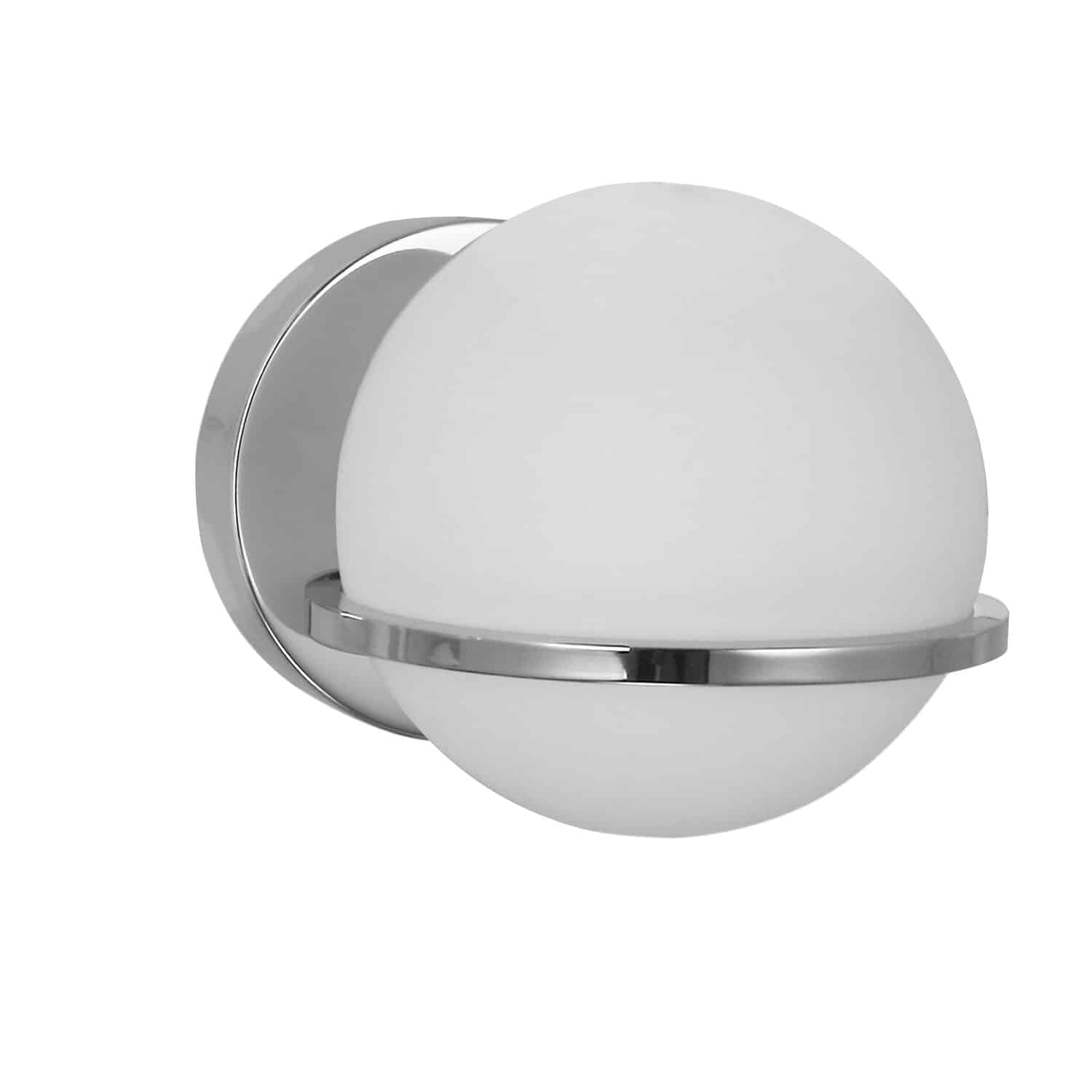 1 Light Halogen Wall Sconce, Polished Chrome with White Glass