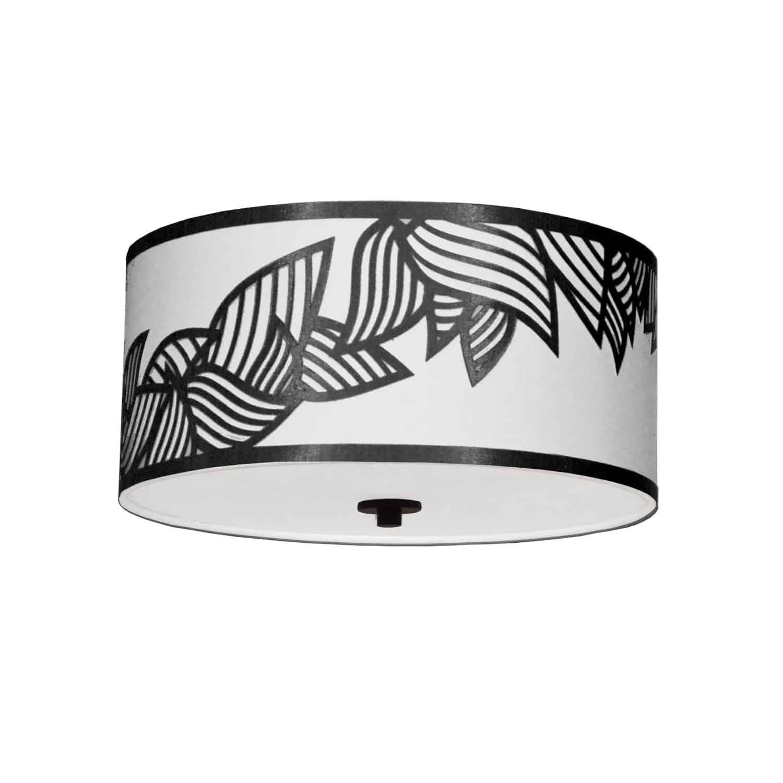 3 Light Flush Mount Polished Chrome Black and White Shade