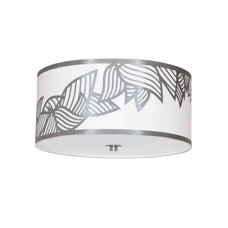 3 Light Flush Mount Polished Chrome Silver and White Shade