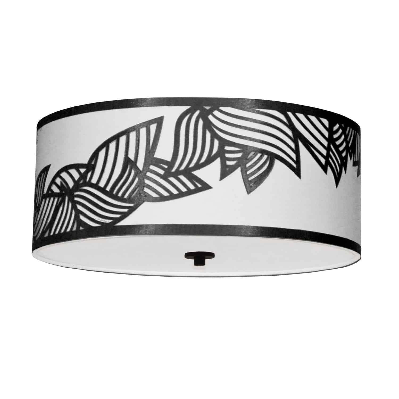 4 Light Flush Mount Polished Chrome Black and White Shade