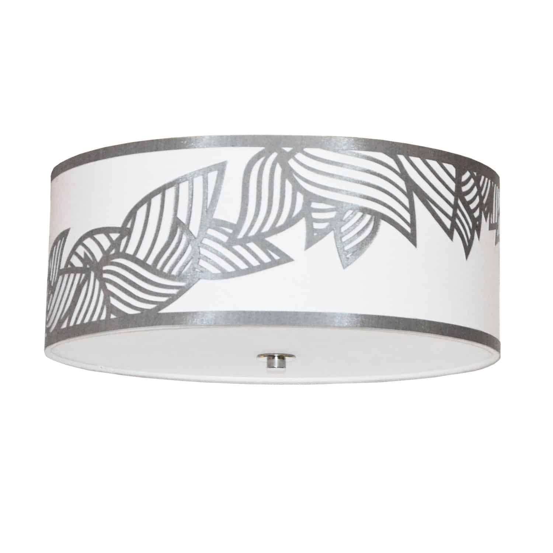 4 Light Flush Mount Polished Chrome Silver and White Shade