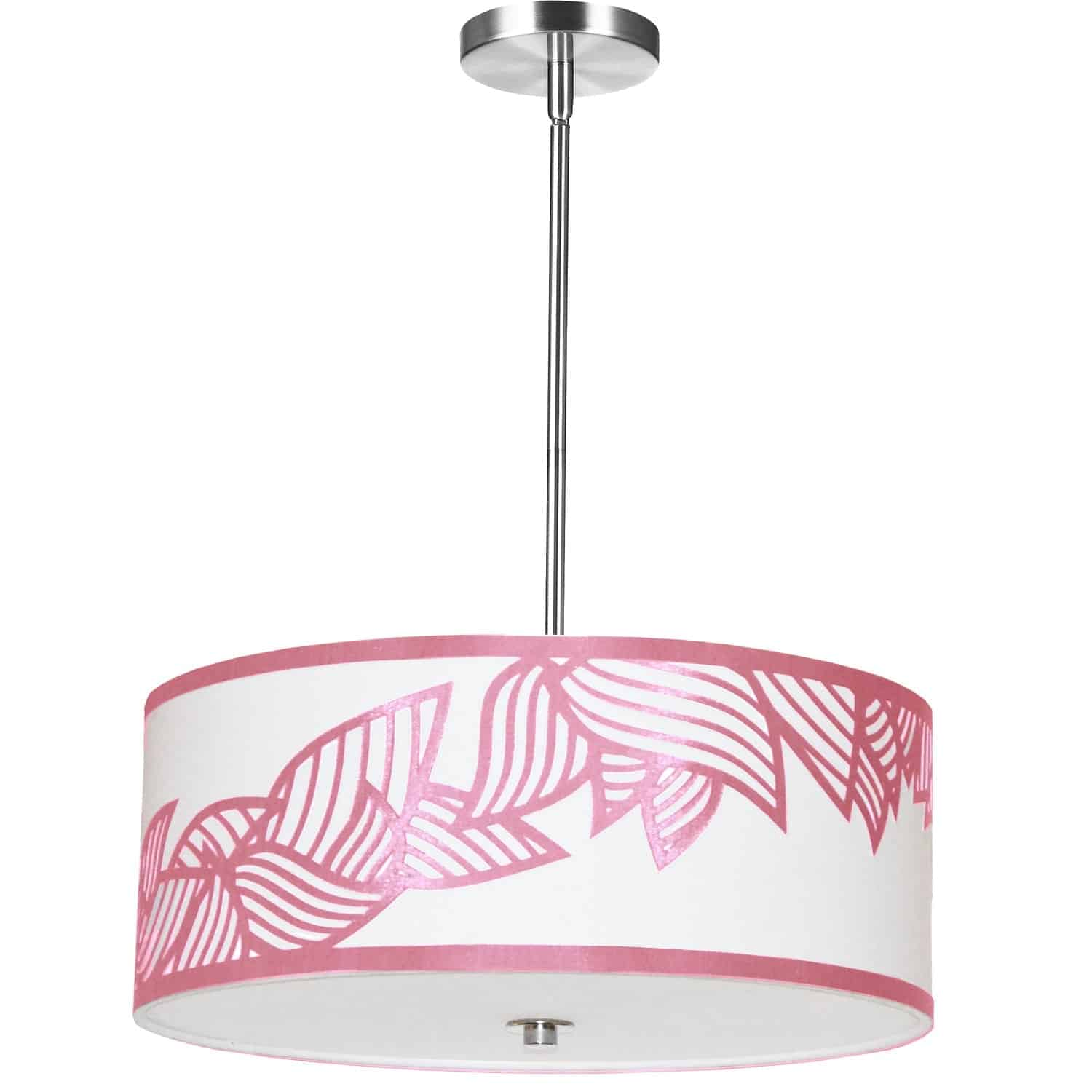 4 Light Pendant Polished Chrome Pink and White Shade