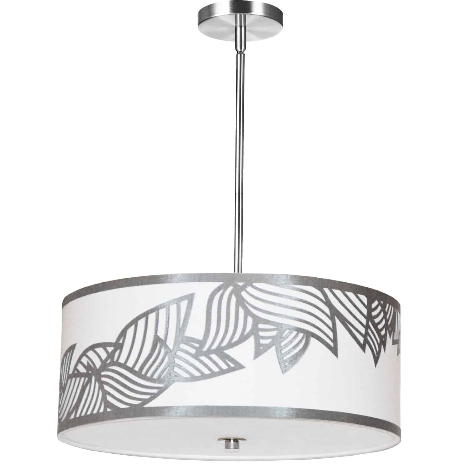 4 Light Pendant Polished Chrome Silver and White Shade