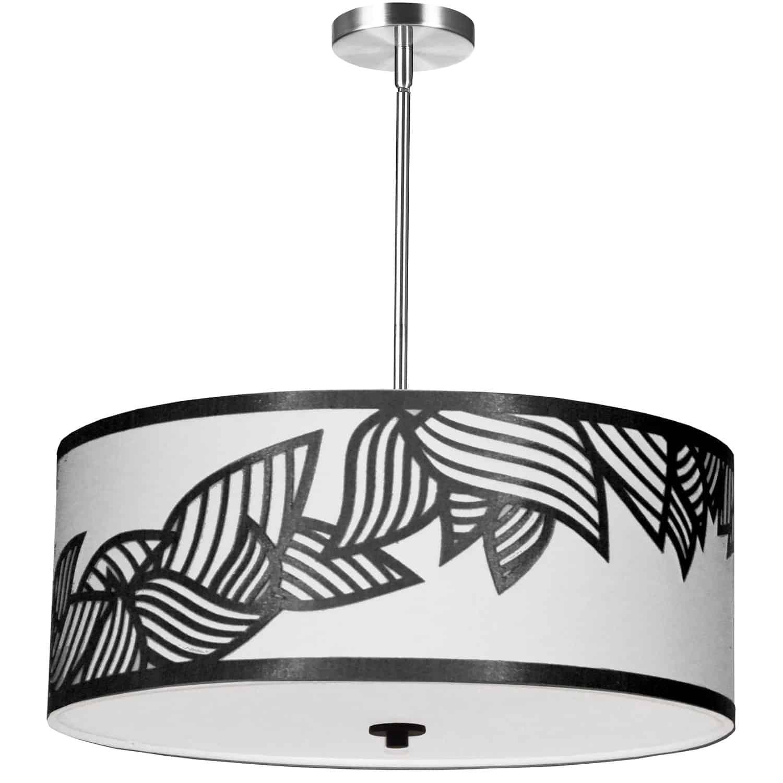 4 Light Pendant Polished Chrome Black and White Shade