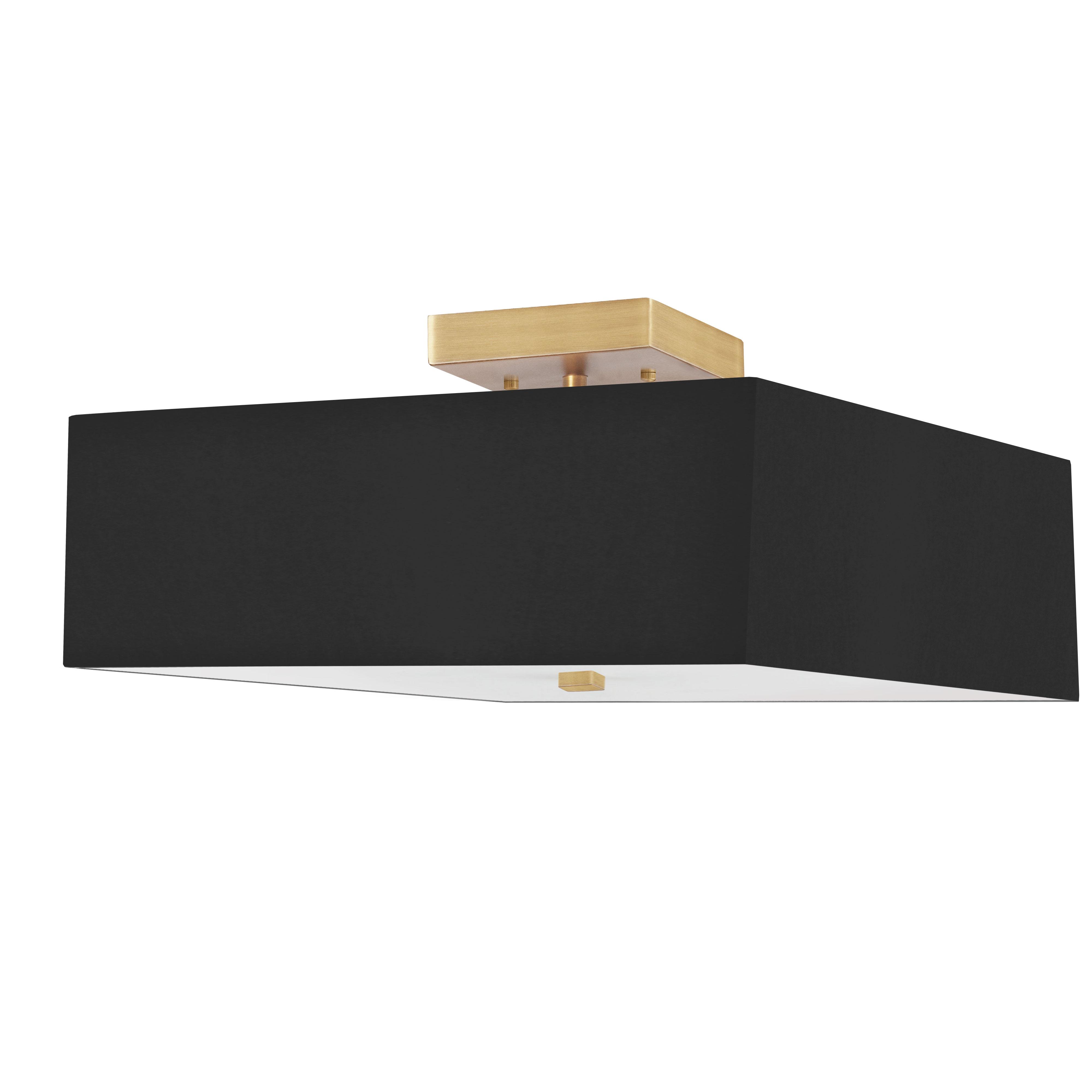 3LT Incandescent Semi-Flush AGB w/ Black Shade