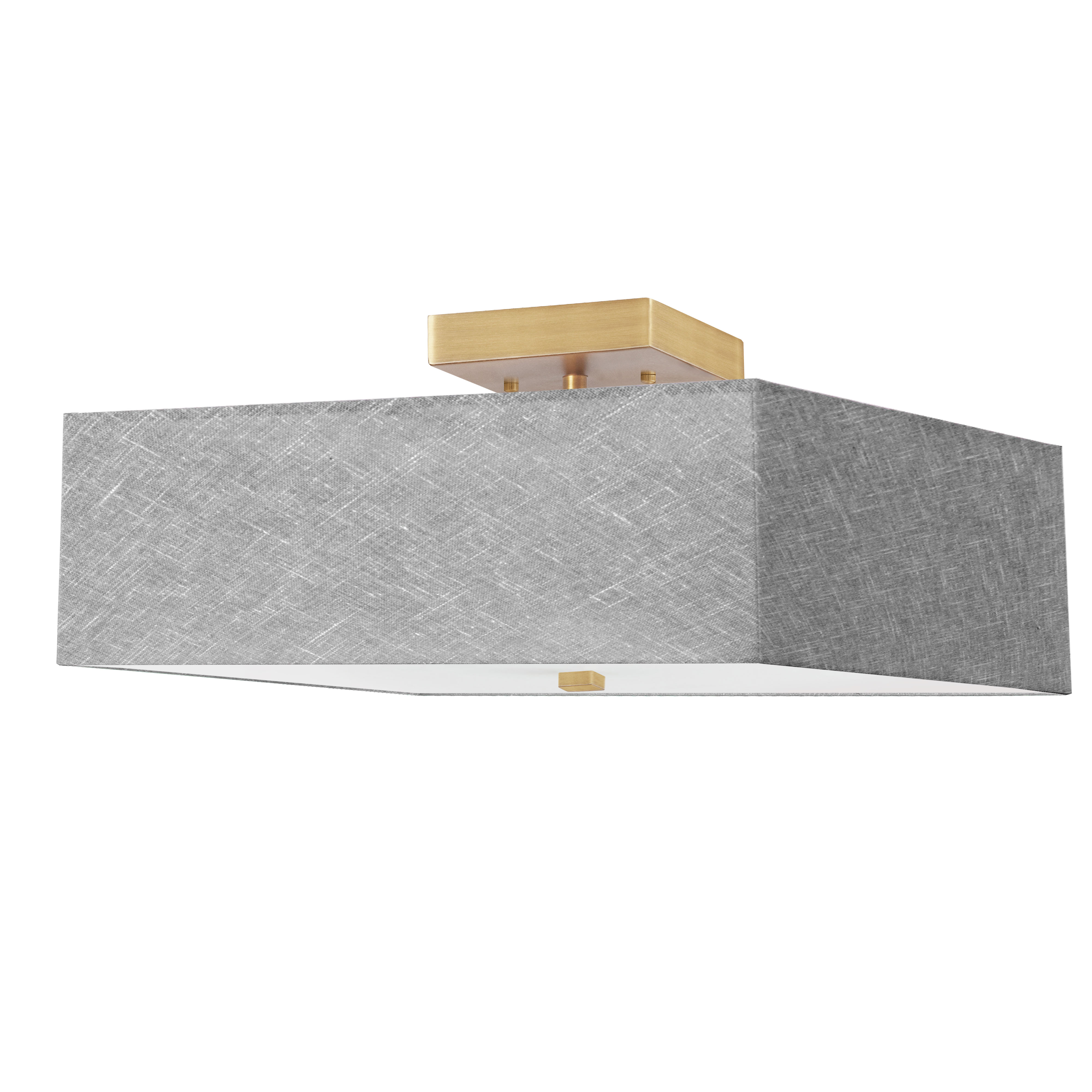 3LT Incandescent Semi-Flush AGB w/ Grey Shade