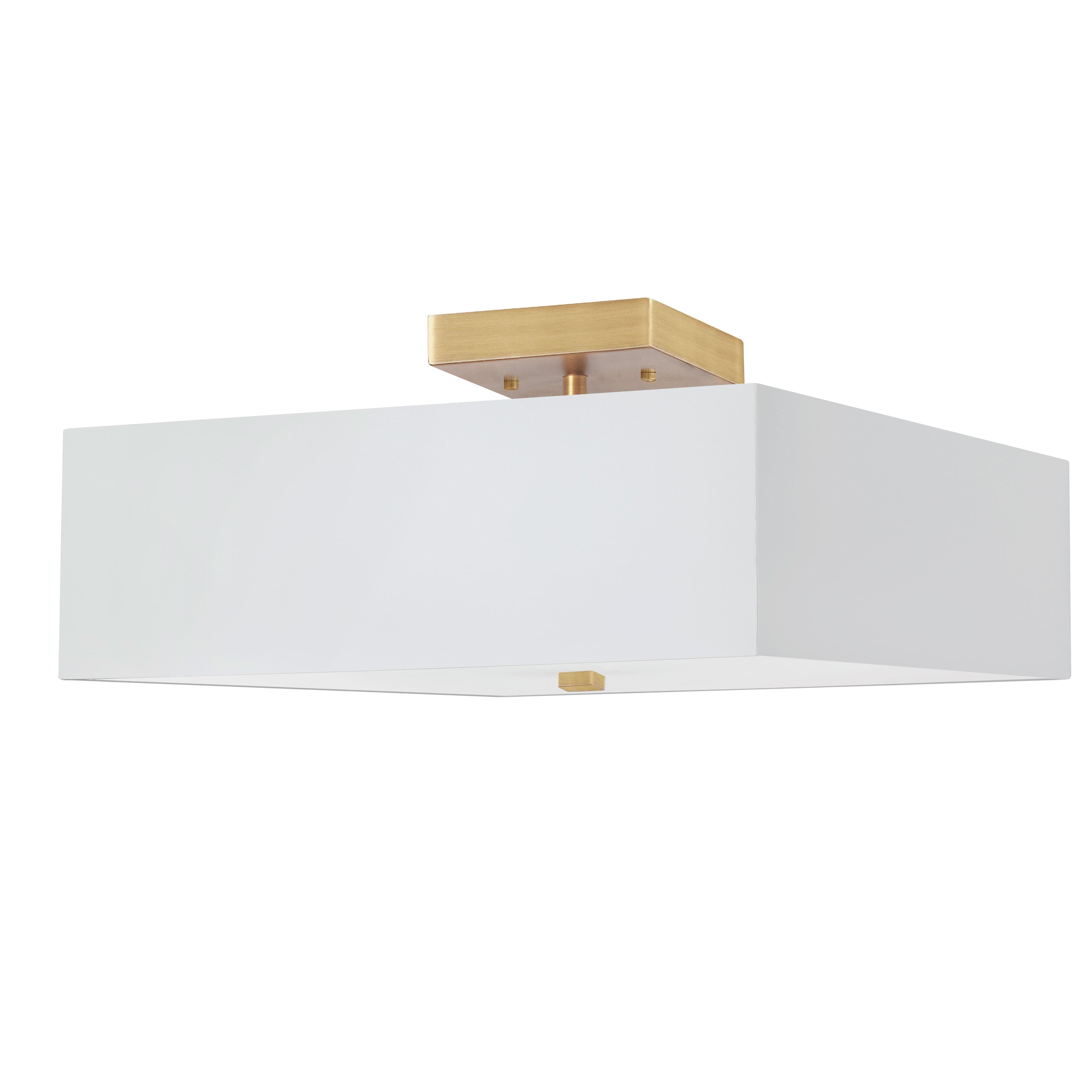 3LT Incandescent Semi-Flush AGB w/ White Shade