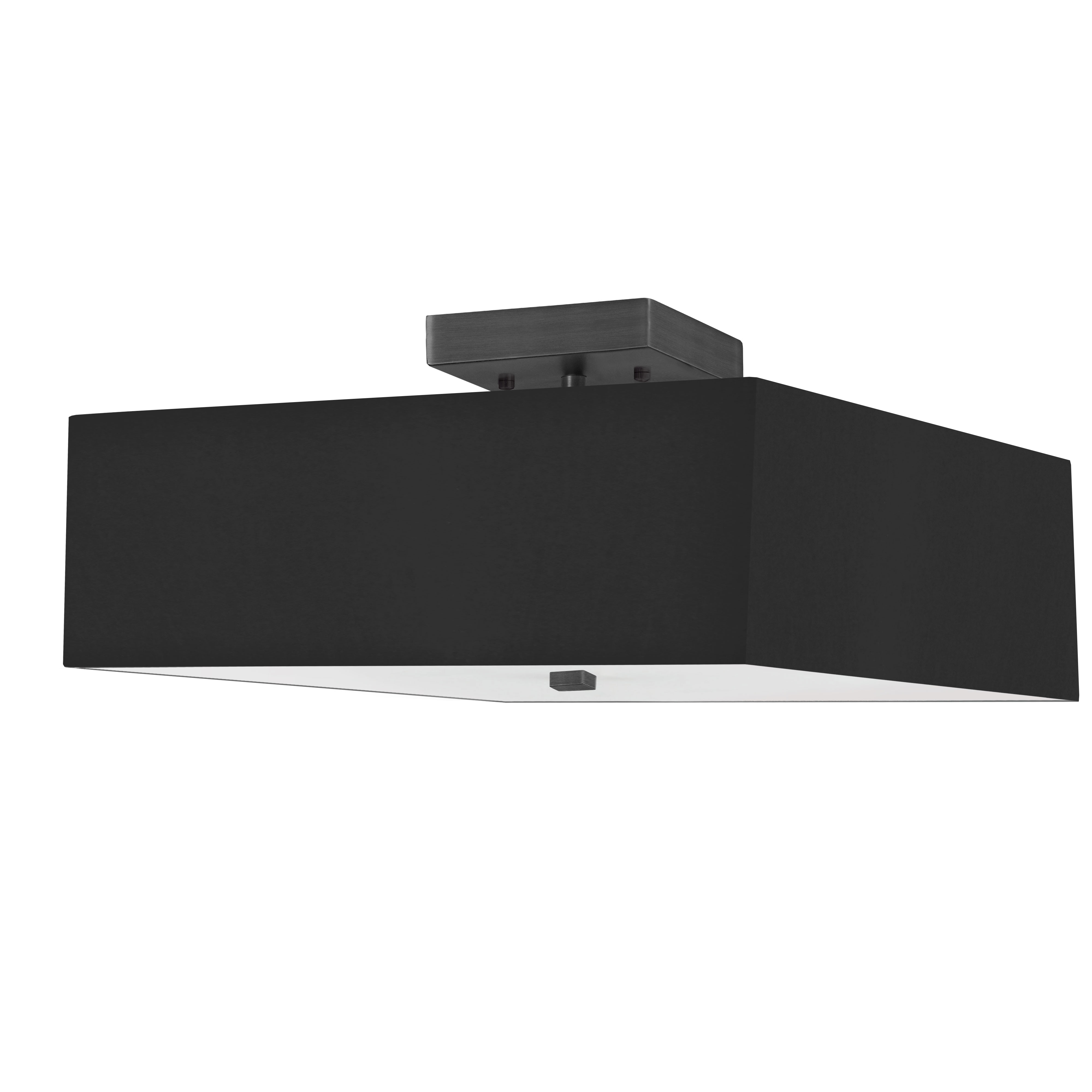 3LT Incandescent Semi-Flush MB w/ Black Shade