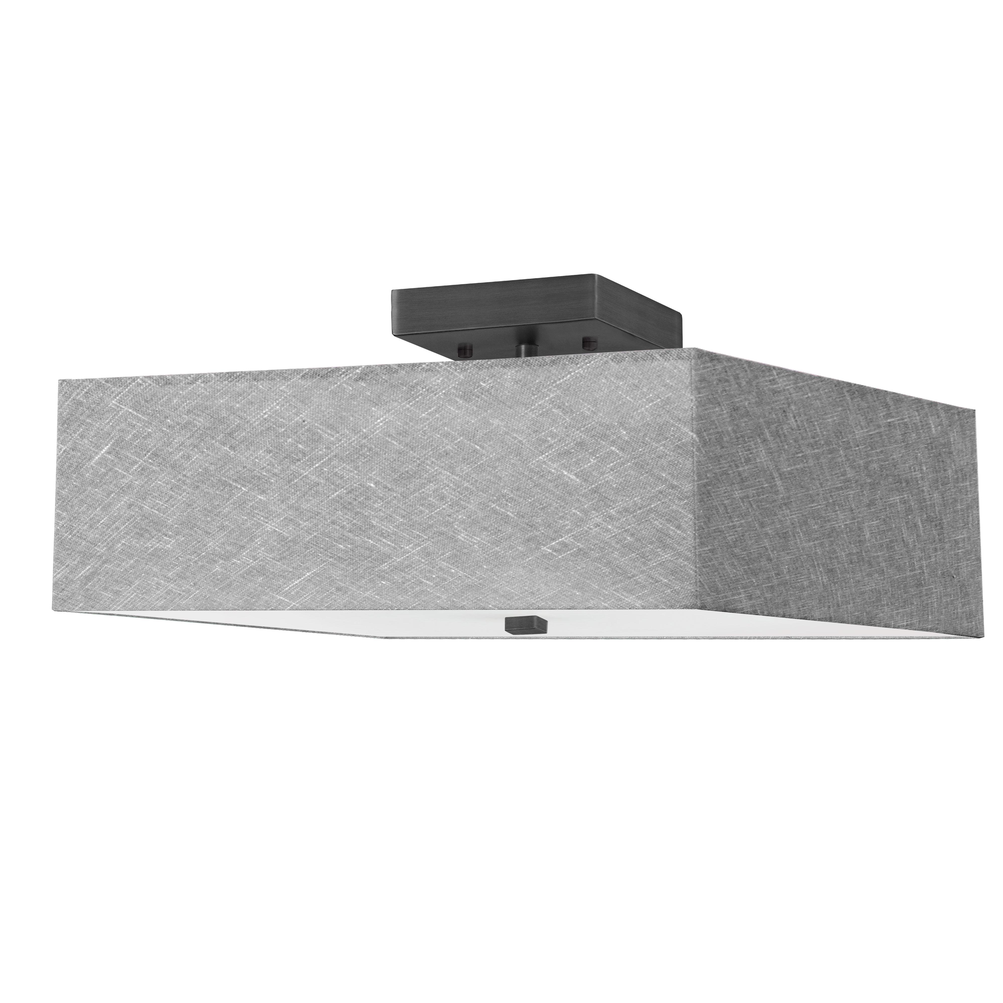 3LT Incandescent Semi-Flush MB w/ Grey Shade