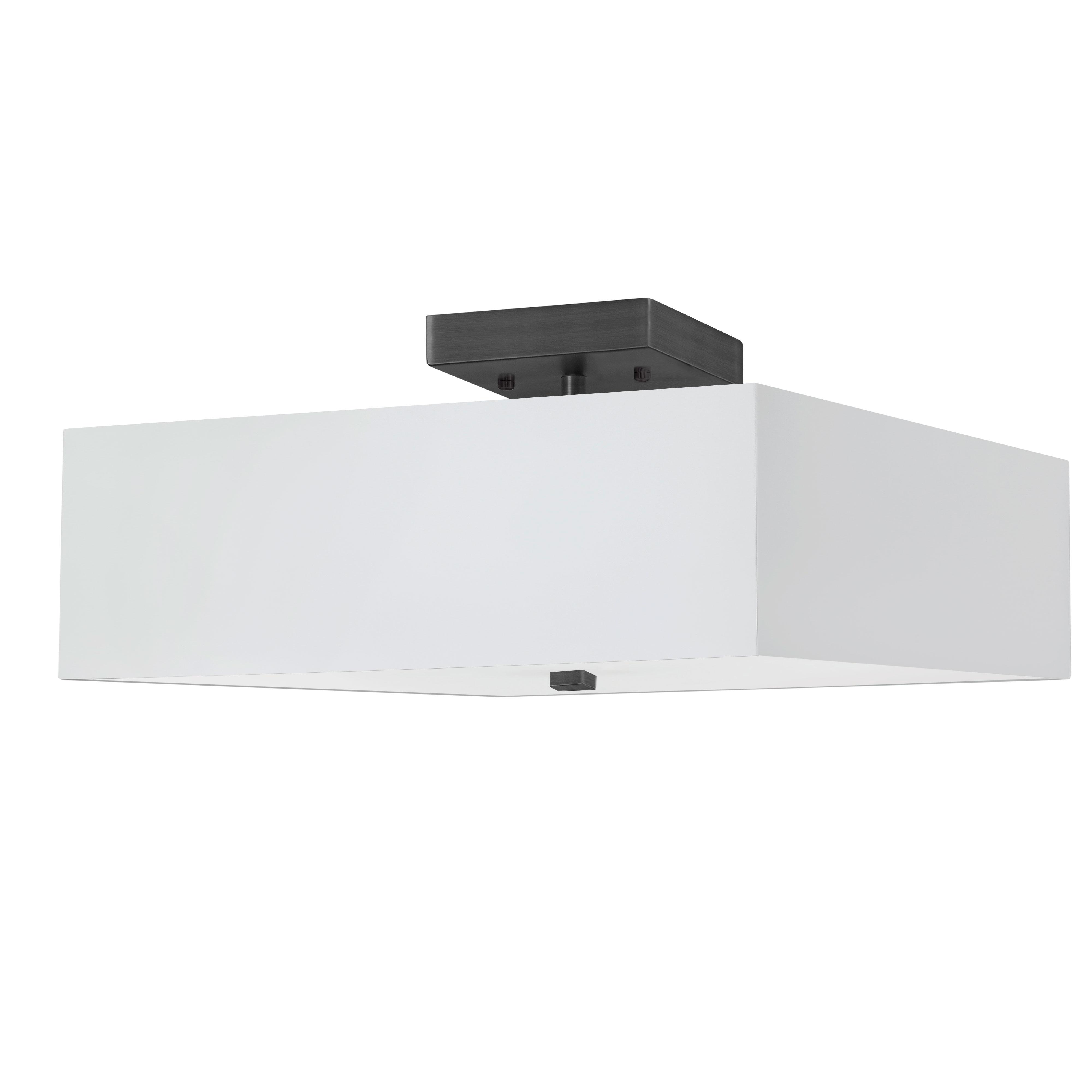 3LT Incandescent Semi-Flush MB w/ White Shade
