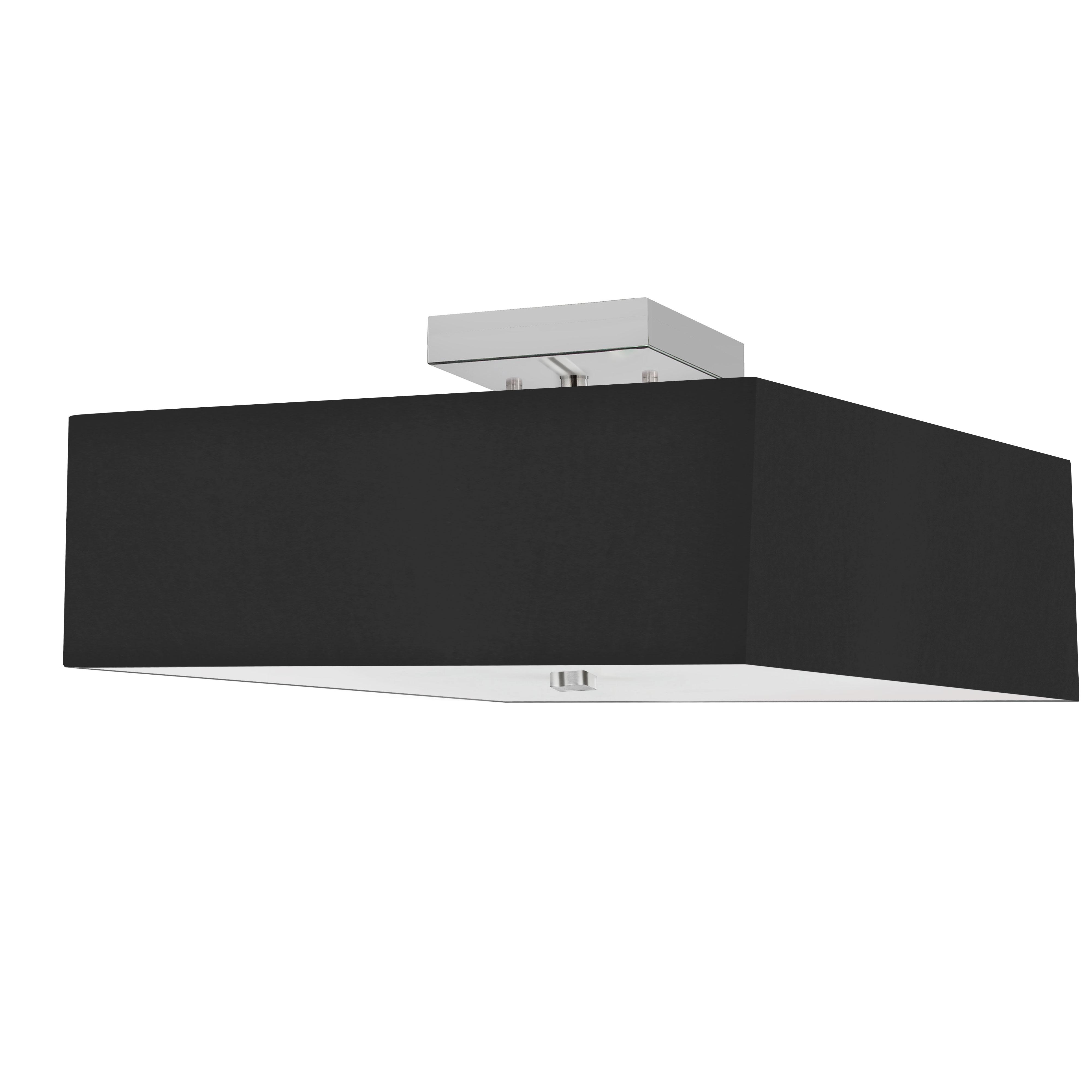 3LT Incandescent Semi-Flush PC w/ Black Shade