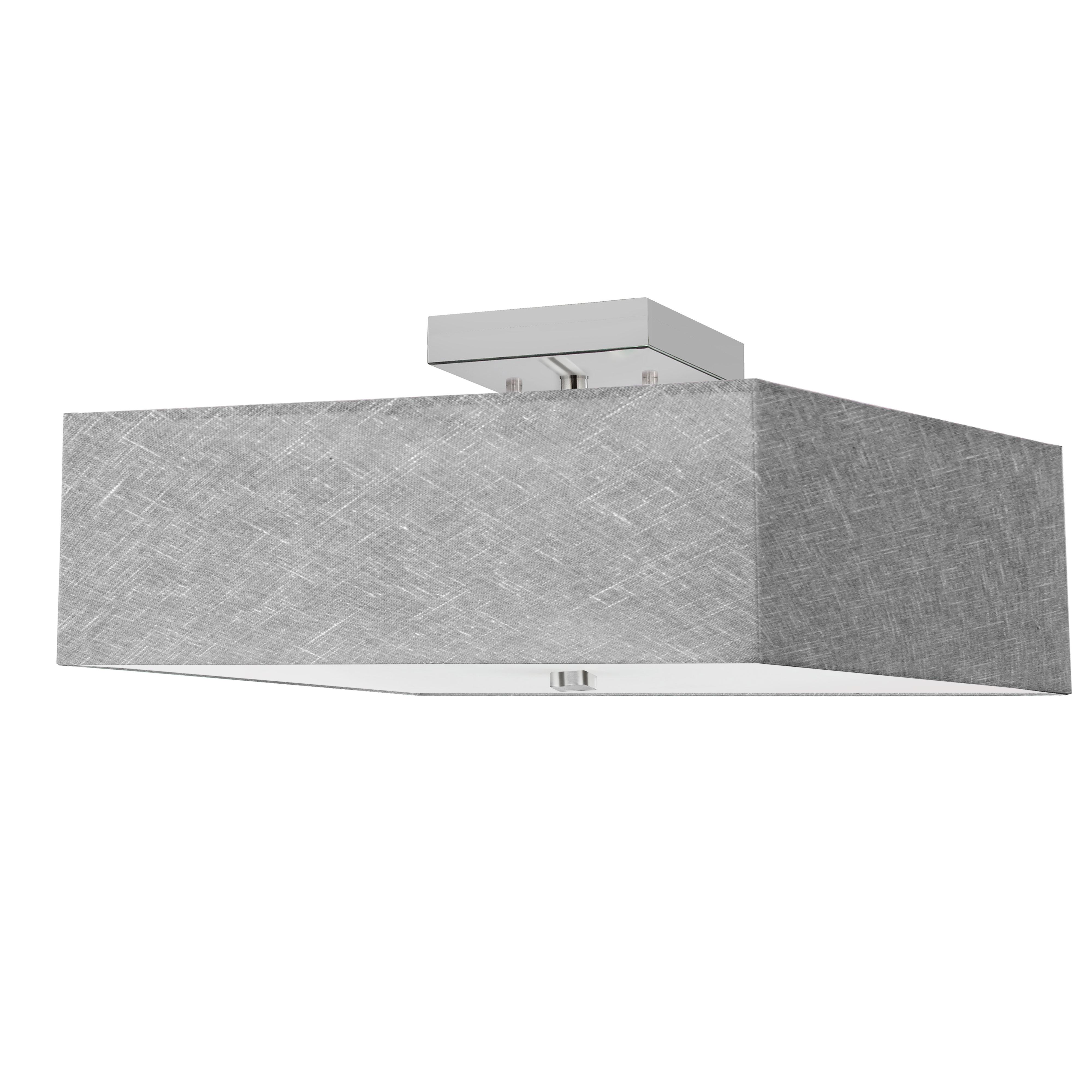 3LT Incandescent Semi-Flush PC w/ Grey Shade