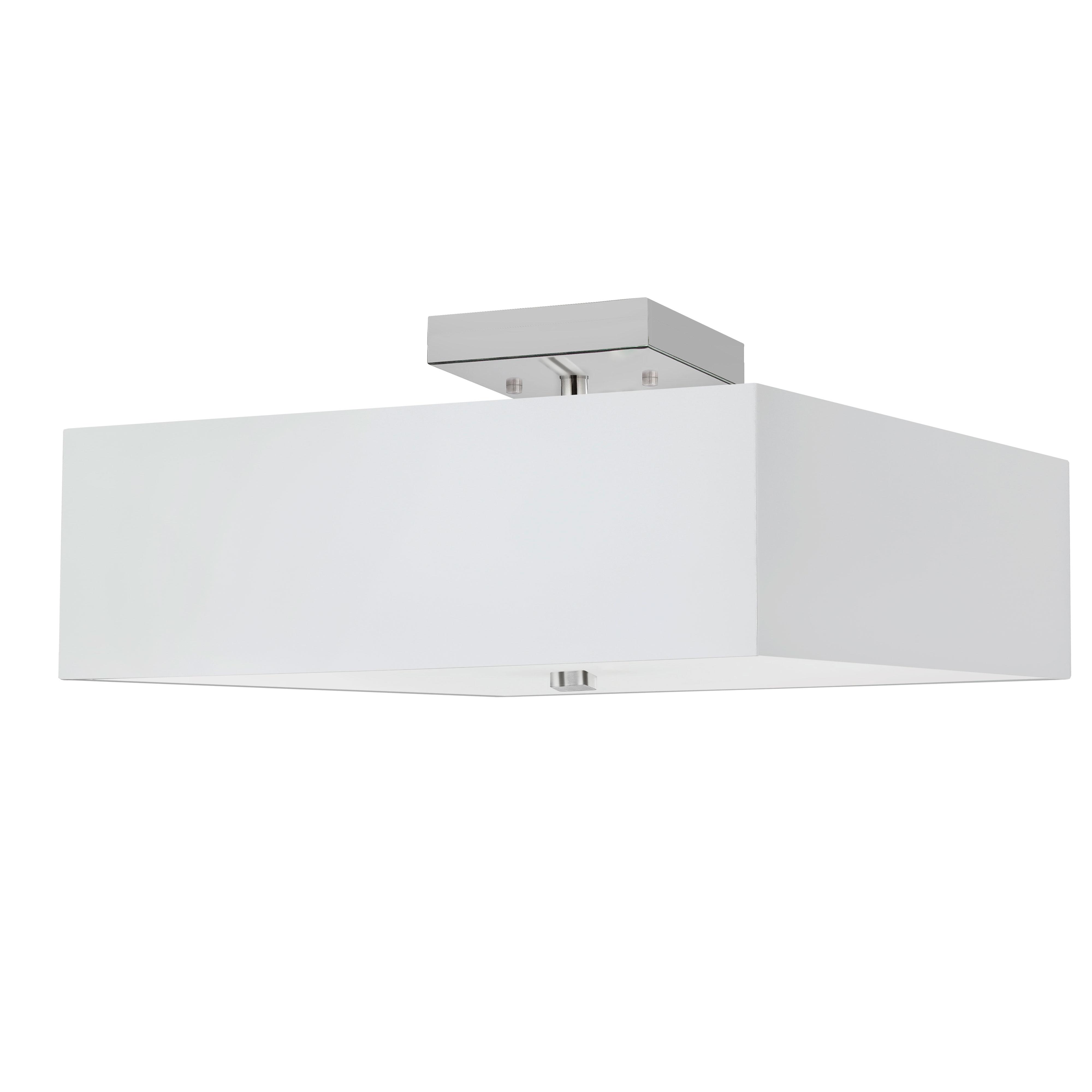 3LT Incandescent Semi-Flush PC w/ White Shade