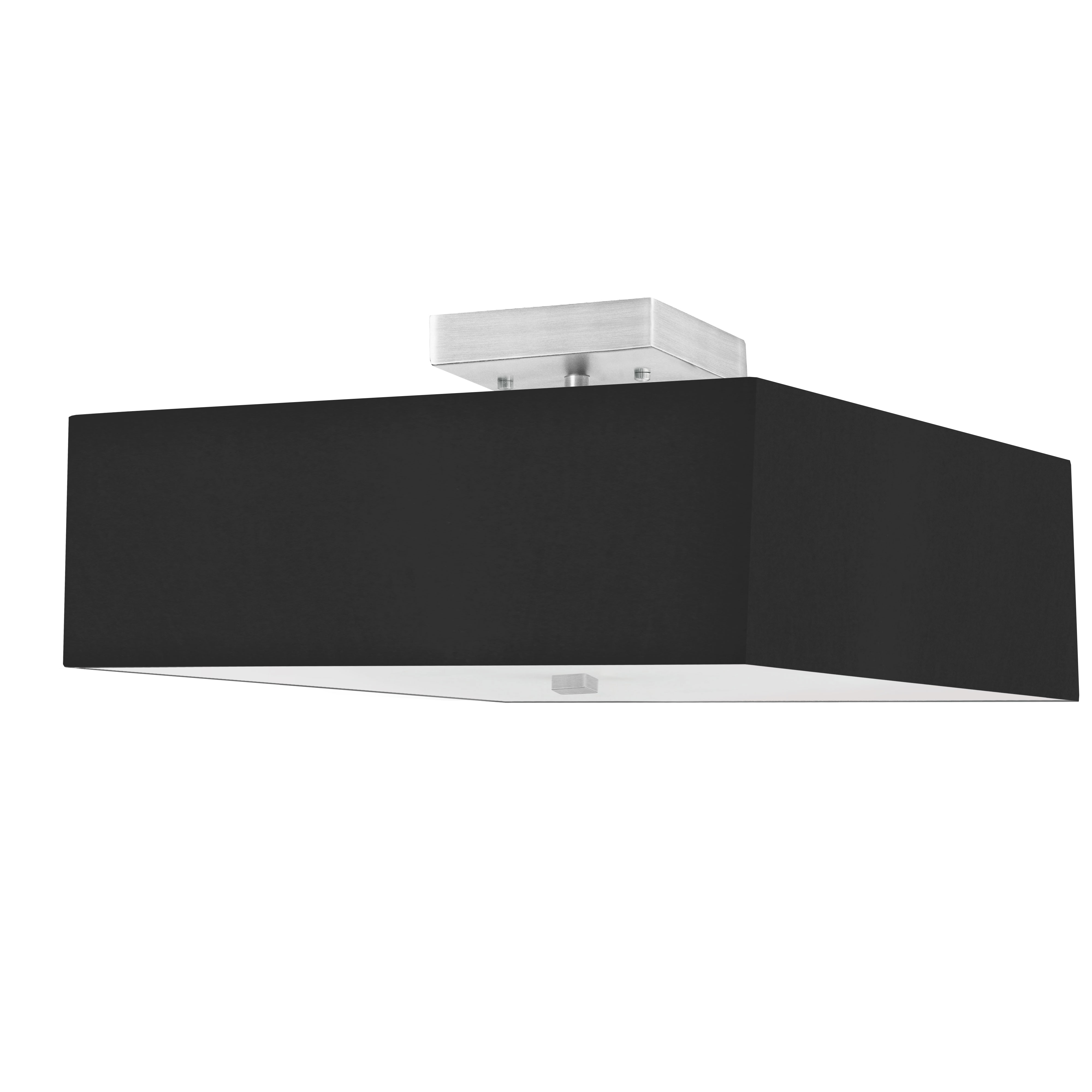 3LT Incandescent Semi-Flush SC w/ Black Shade