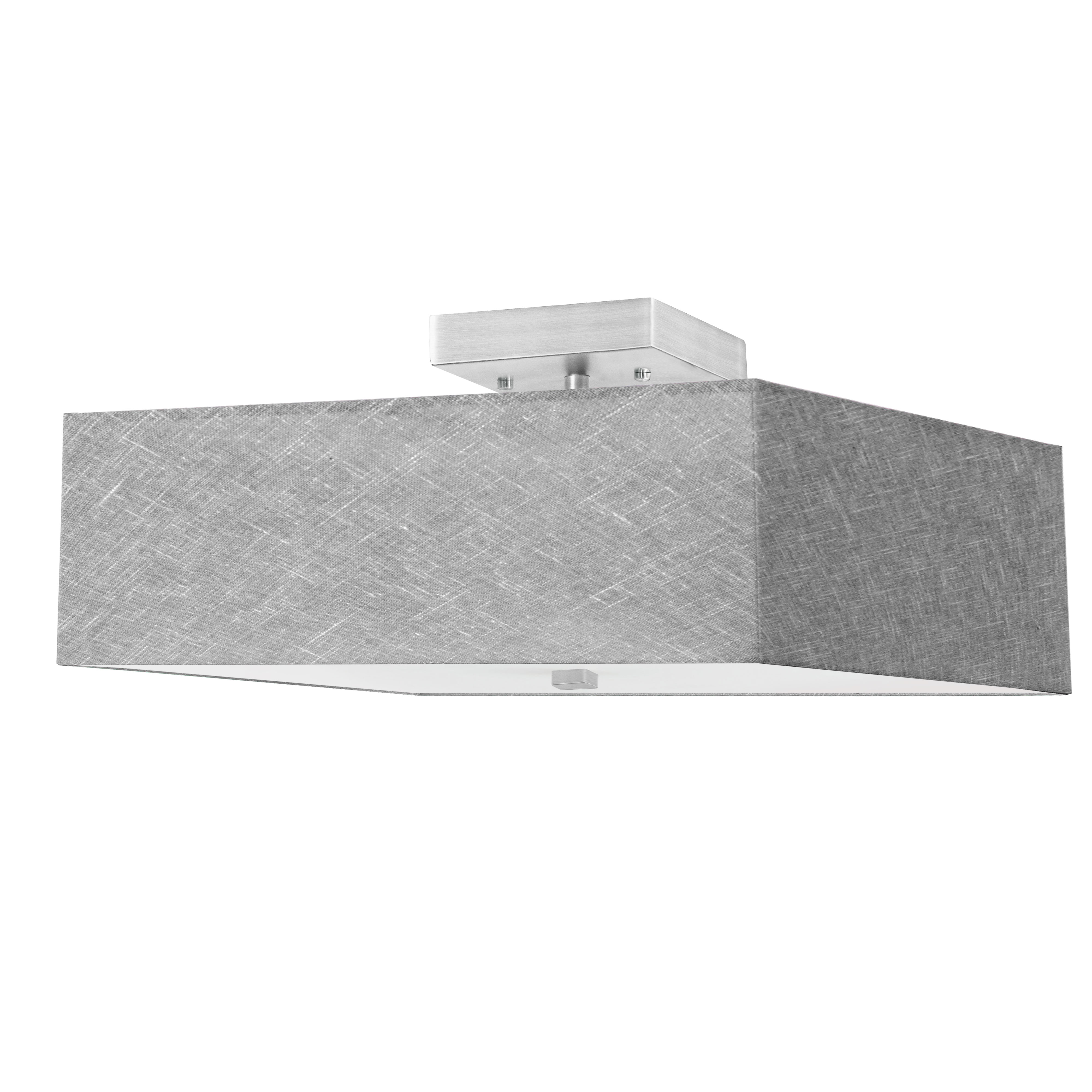 3LT Incandescent Semi-Flush SC w/ Grey Shade