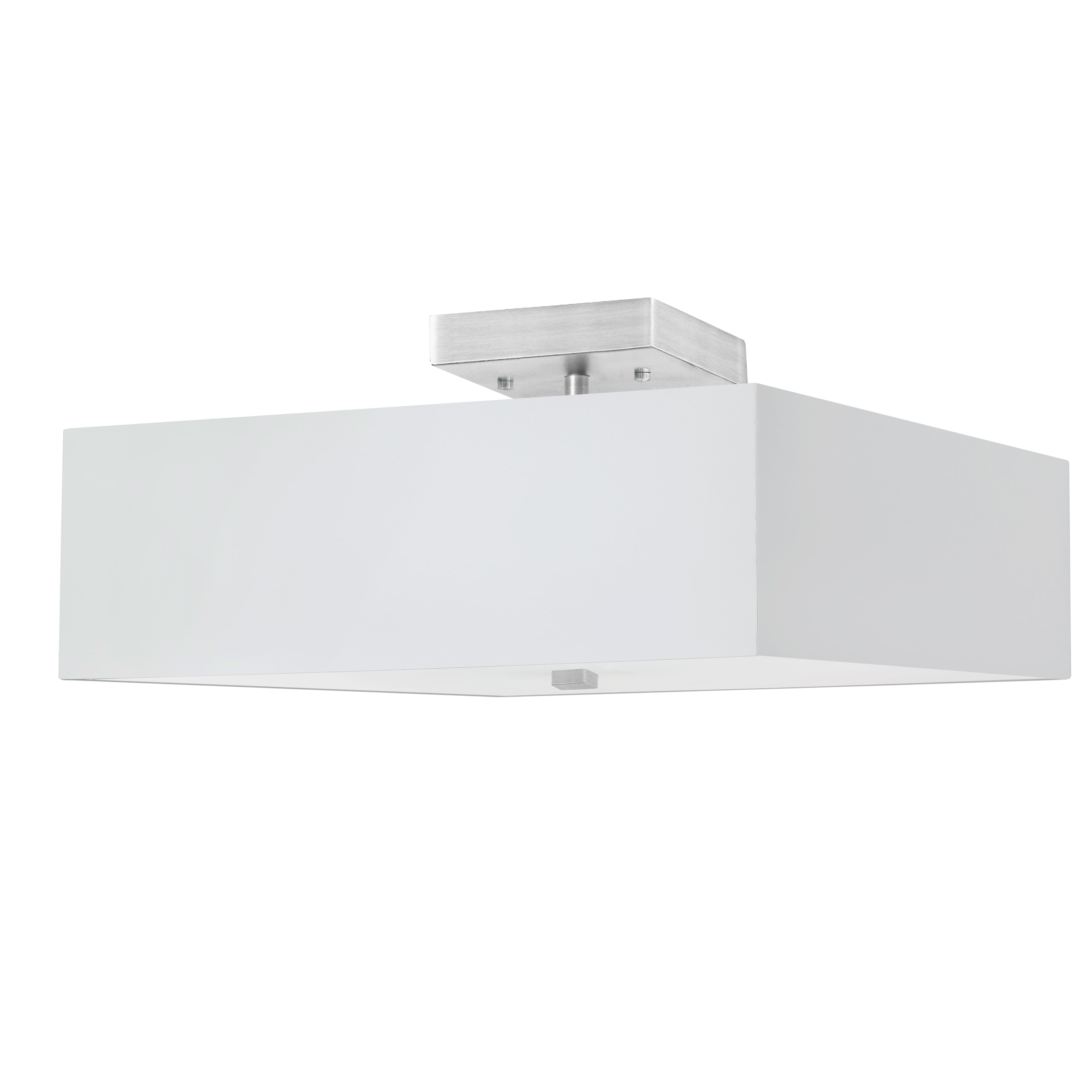 3LT Incandescent Semi-Flush SC w/ White Shade