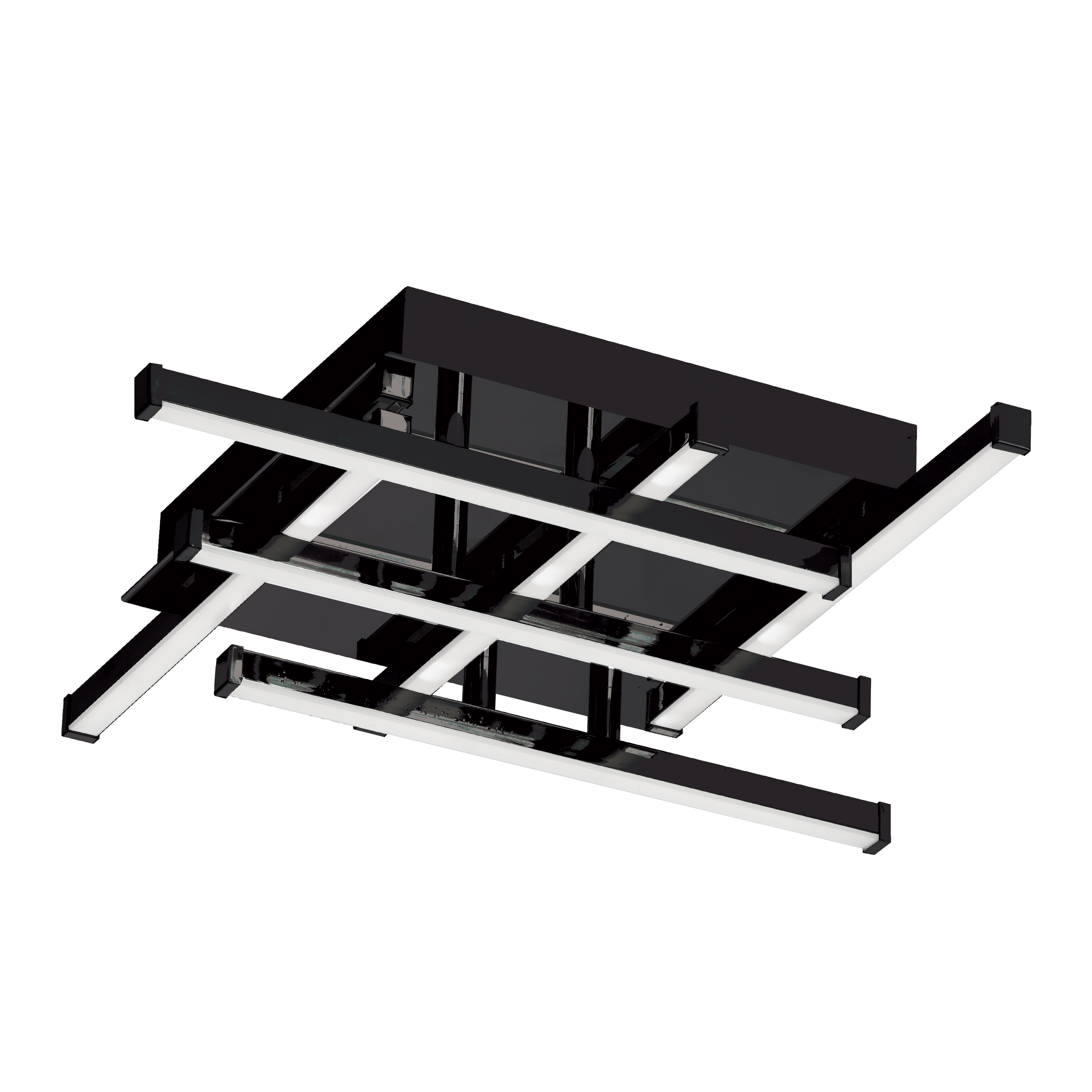 18W LED Flush Mount Matte Black with White Acrylic Diffuser