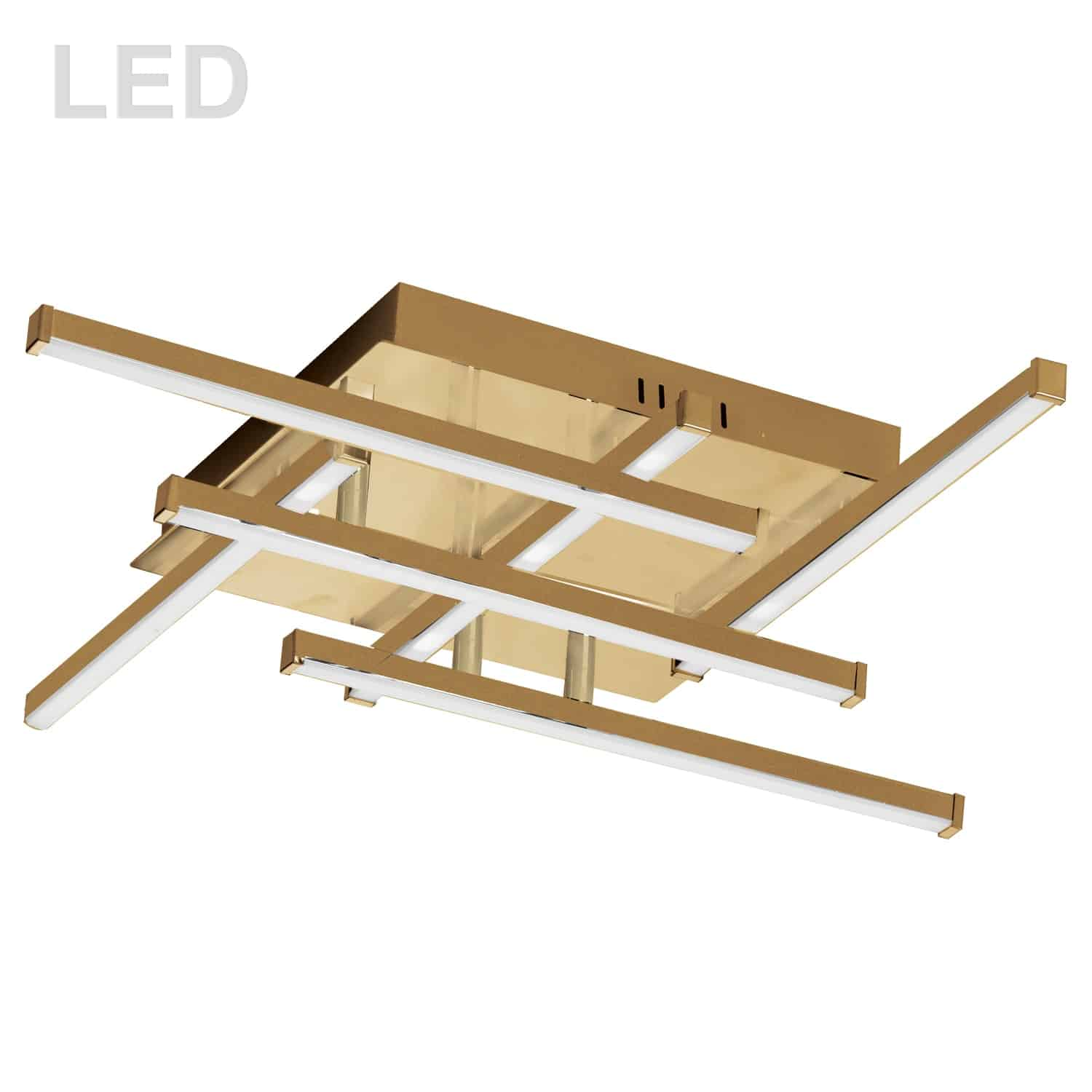 20W LED Flush Mount, Aged Brass with White Acrylic Diffuser