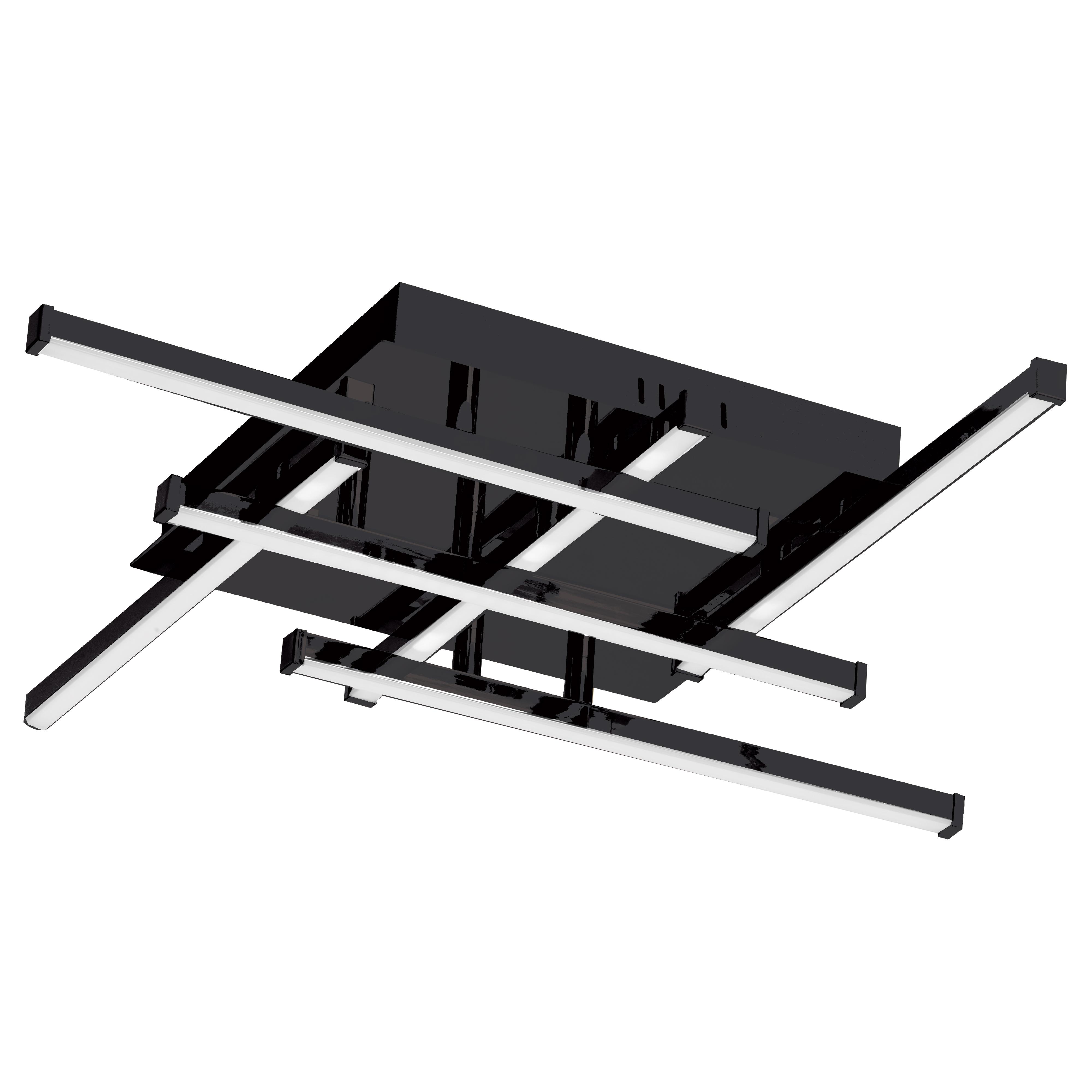 20W LED Flush Mount Matte Black with White Acrylic Diffuser