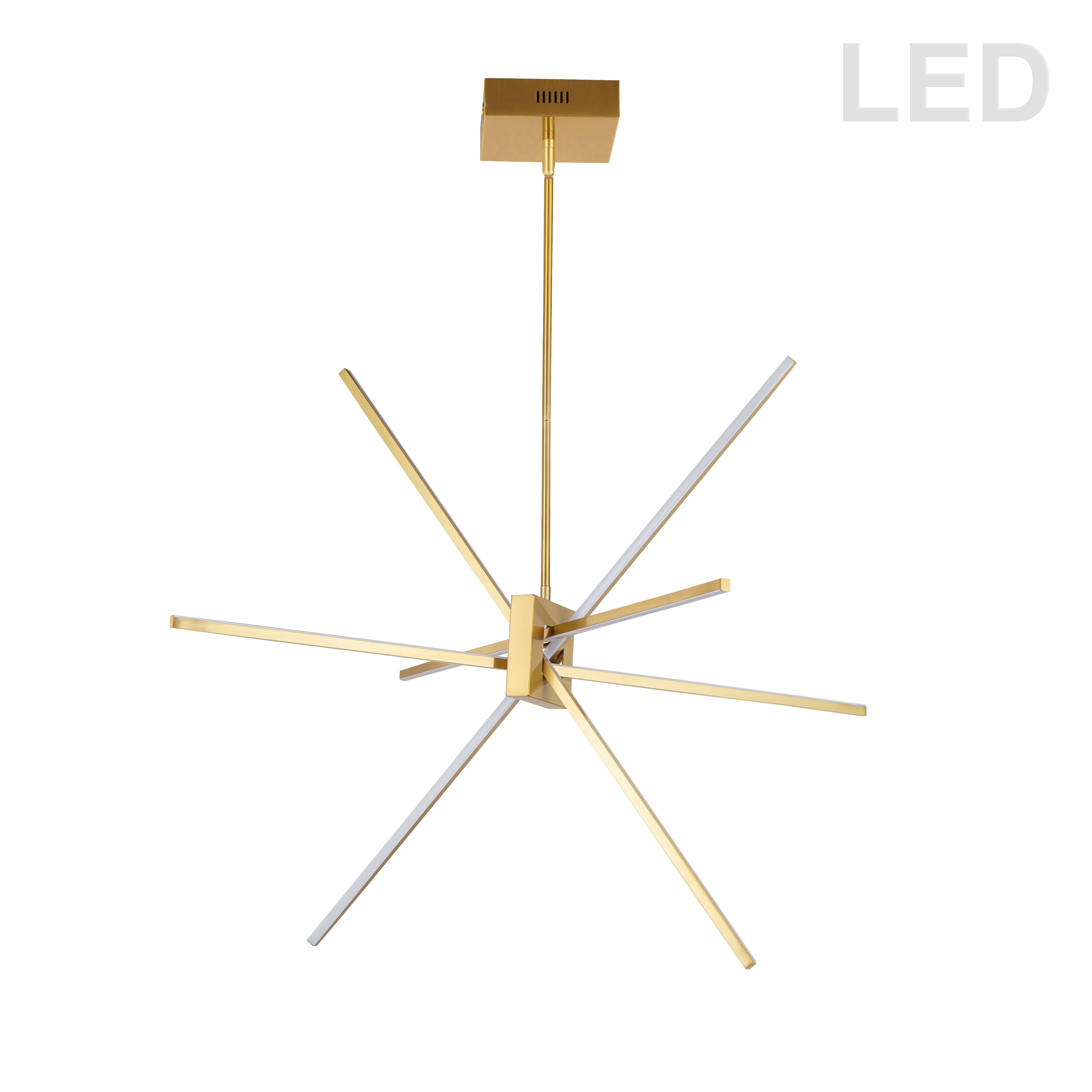 46W LED Aged Brass Pendant with White Acrylic Diffuser