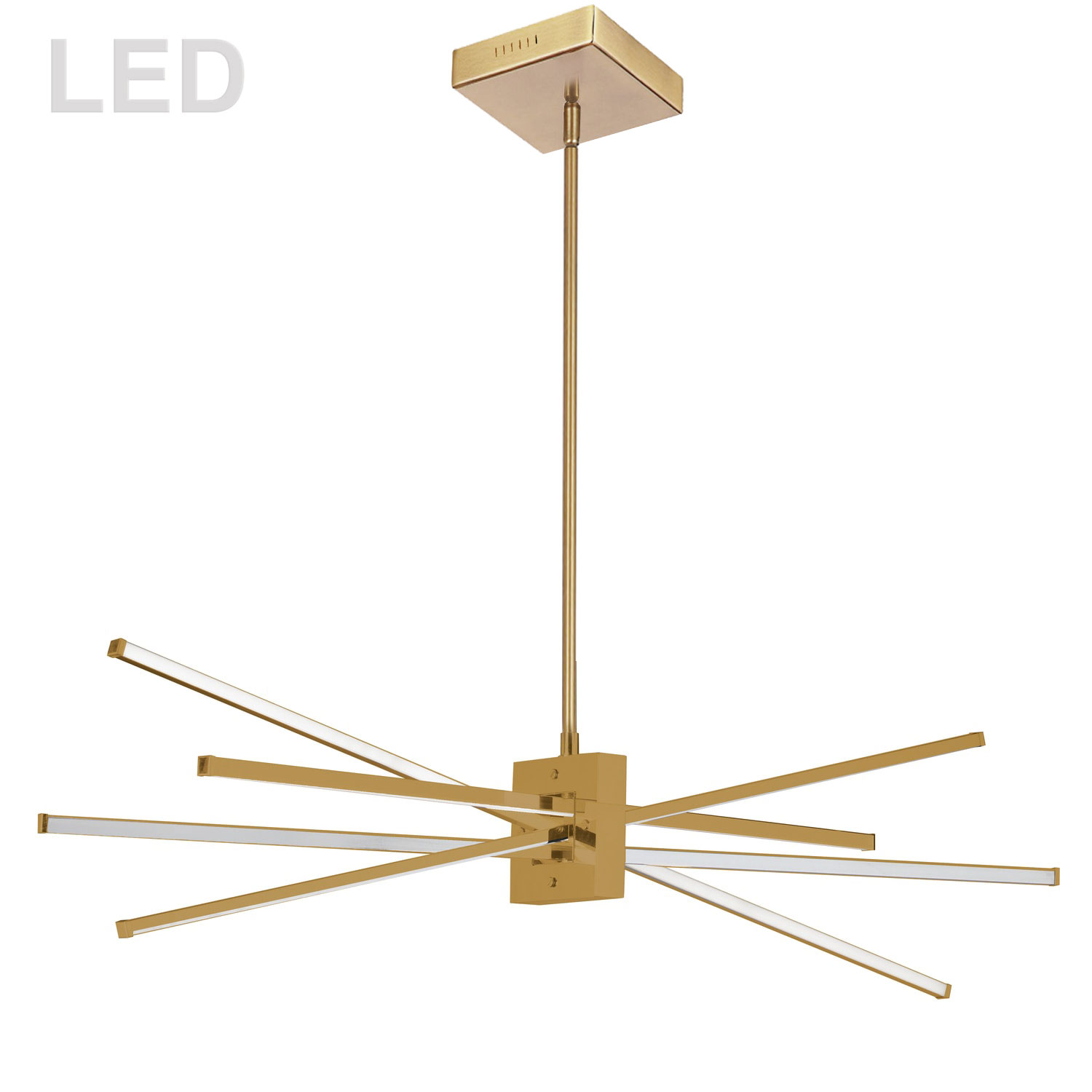 46W Horizontal Pendant, Aged Brass with White Diffuser