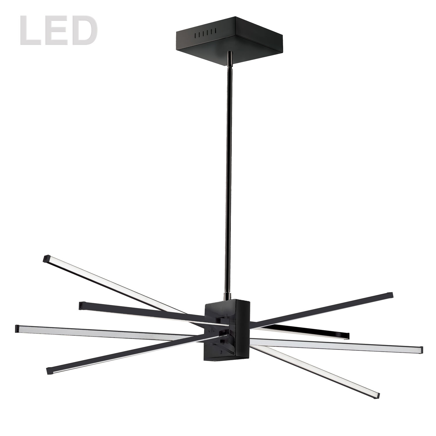 46W LED Horizontal Pendant Matte Black with White Acrylic Diffuser