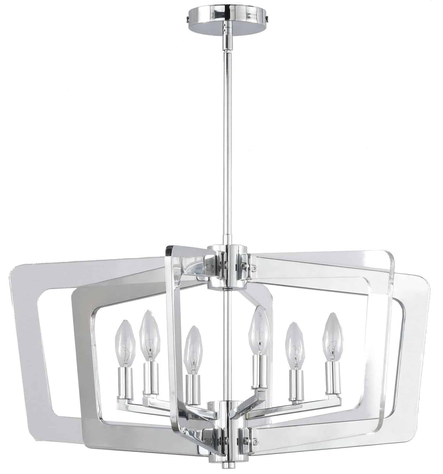 6 Light Chandelier, Polished Chrome Finish with Clear Acrylic Arms