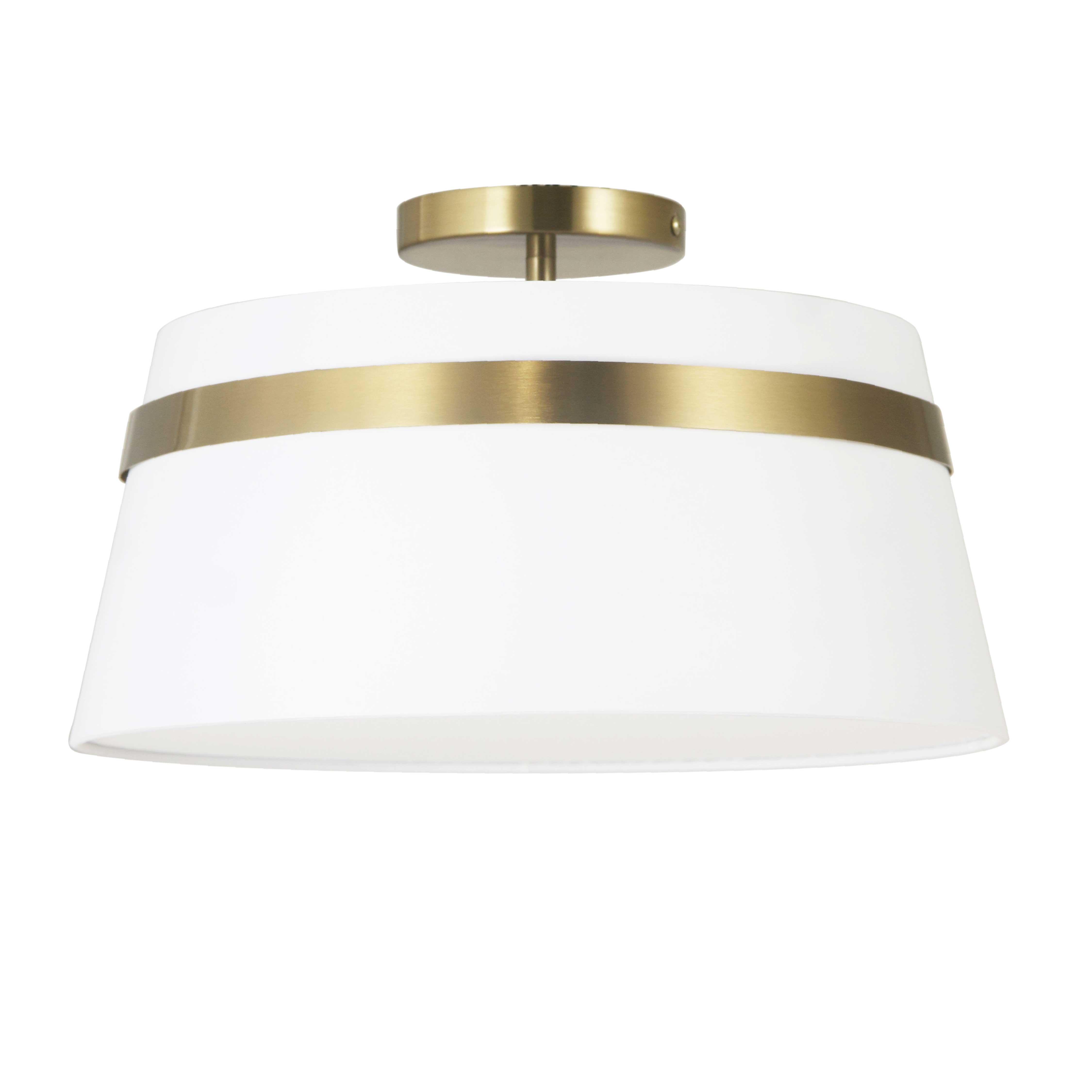 3 Light Incandescent Aged Brass Semi-Flush Mount w/ White Shade