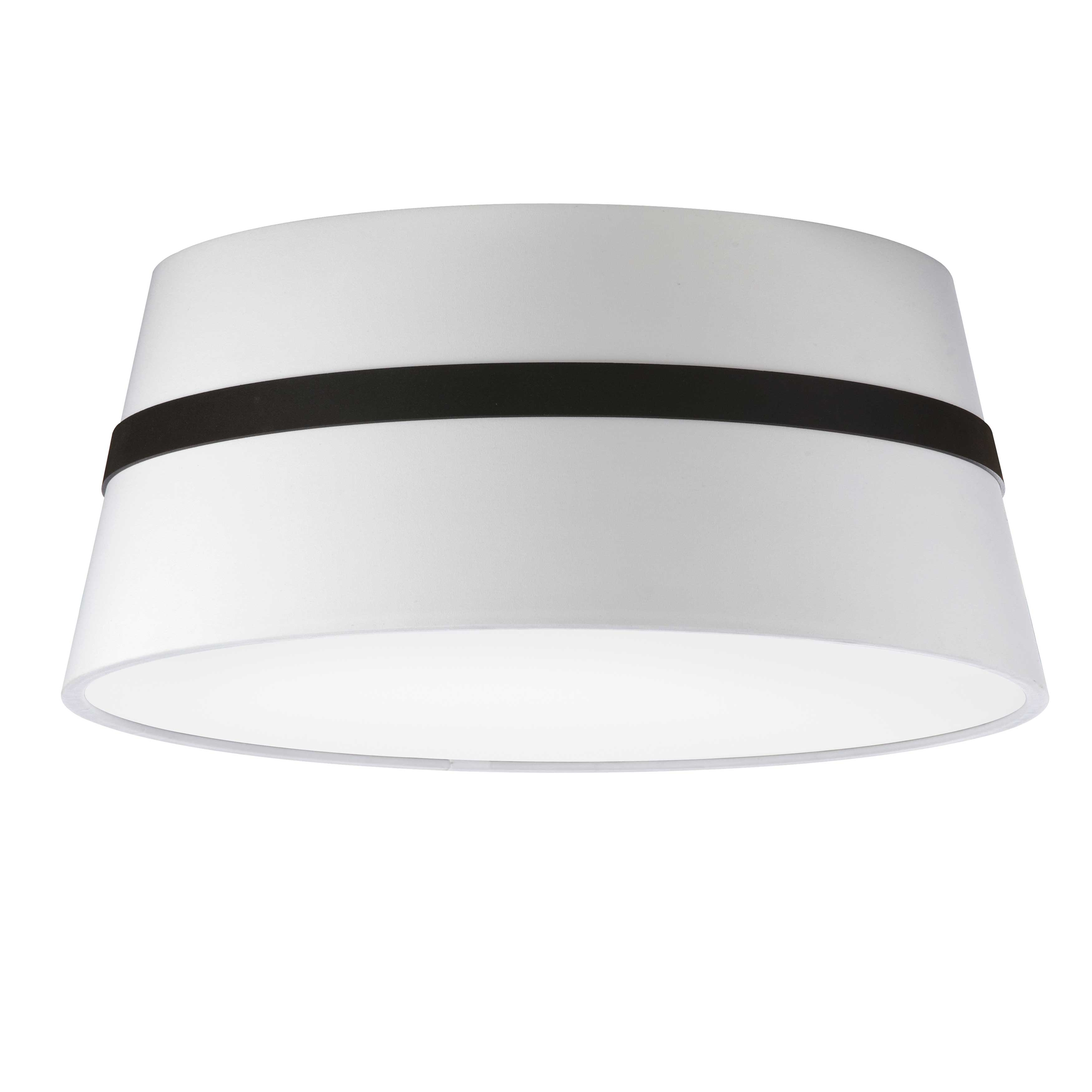 3 Light Incandescent Matte Black Semi-Flush Mount w/ White Shade