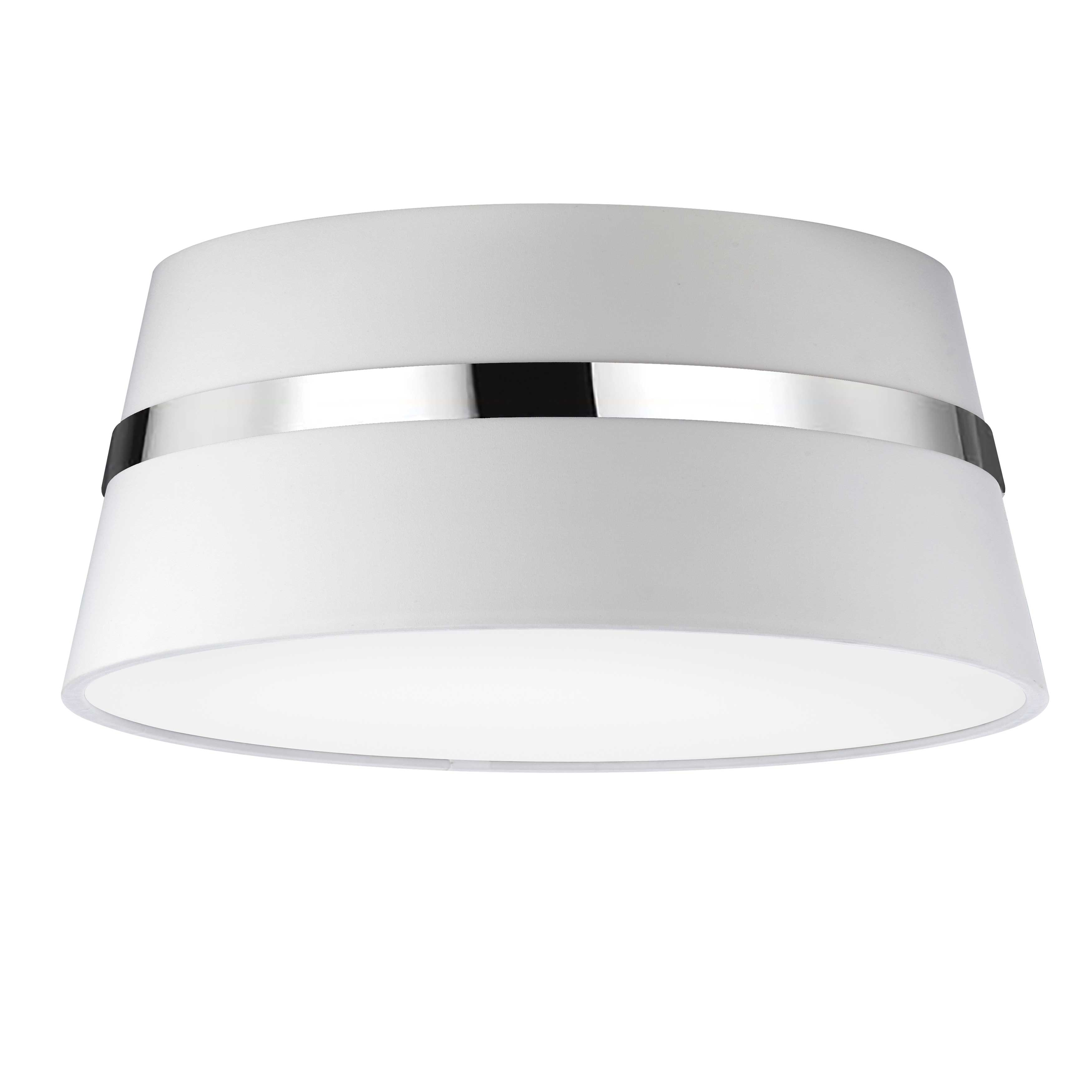 3 Light Incandescent Polished Chrome Semi-Flush Mount w/ White Shade