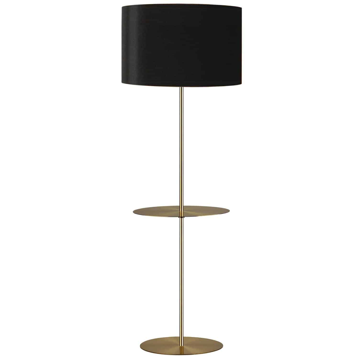 1 Light Incan Rnd. Base with Rnd. Shelf, Aged Brass with Black Shade