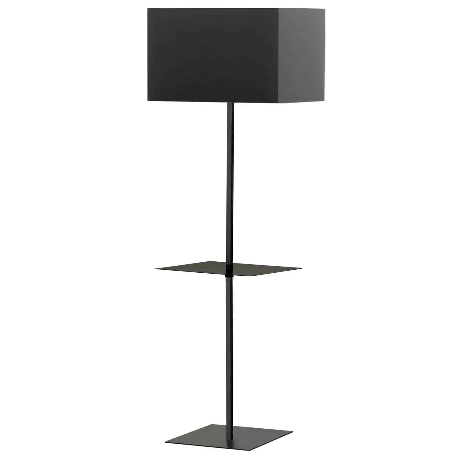 1 Light Incan Square Base with Square Shelf, Matte Black with Black Shade