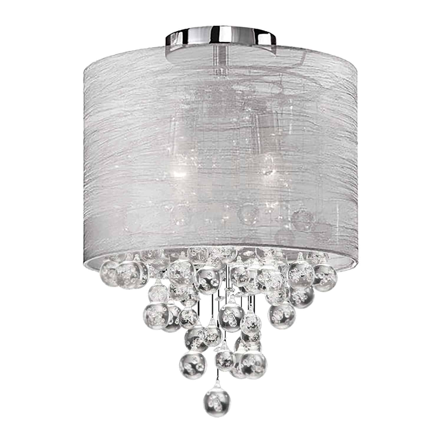 2 Light Incandescent Crystal Flush Mount Polished Chrome Finish with Silver Organza Shade