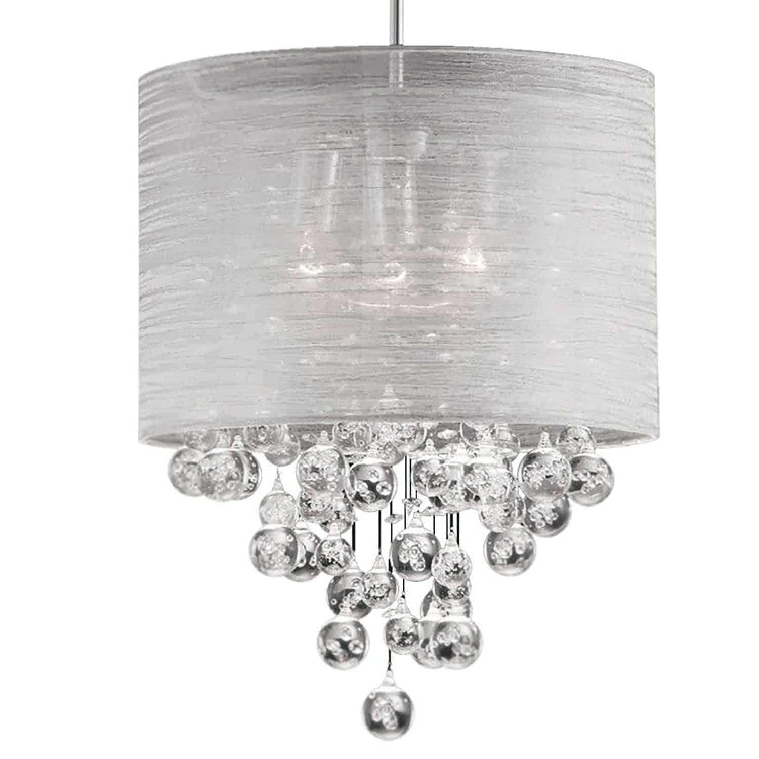 3 Light Incandescent Crystal Pendant Polished Chrome Finish with Silver Organza Shade