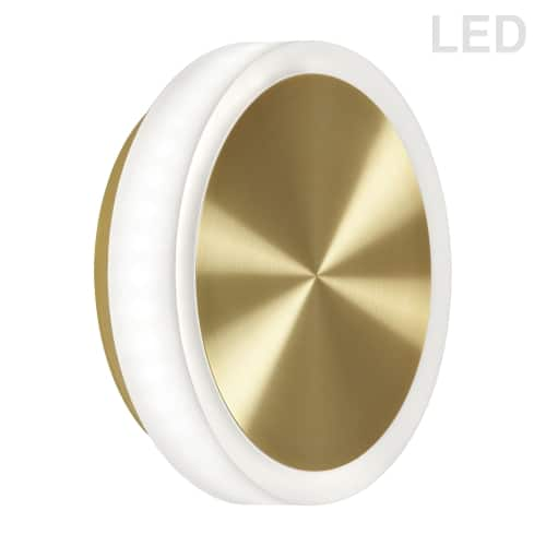 12W Aged Brass Wall Sconce w/ Frosted Acrylic Diffuser