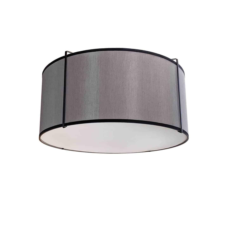 2 Light Flush Mount Drum Black/Grey Shade w/ White Fabric Diffuser